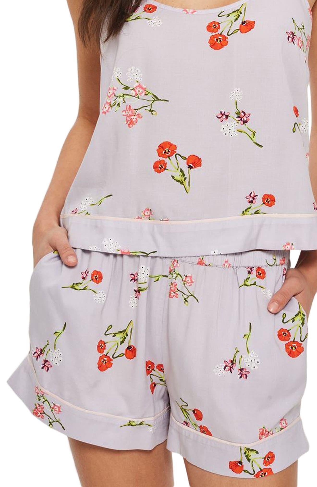 Poppy Pajama Shorts,                             Main thumbnail 1, color,                             Light Blue Multi