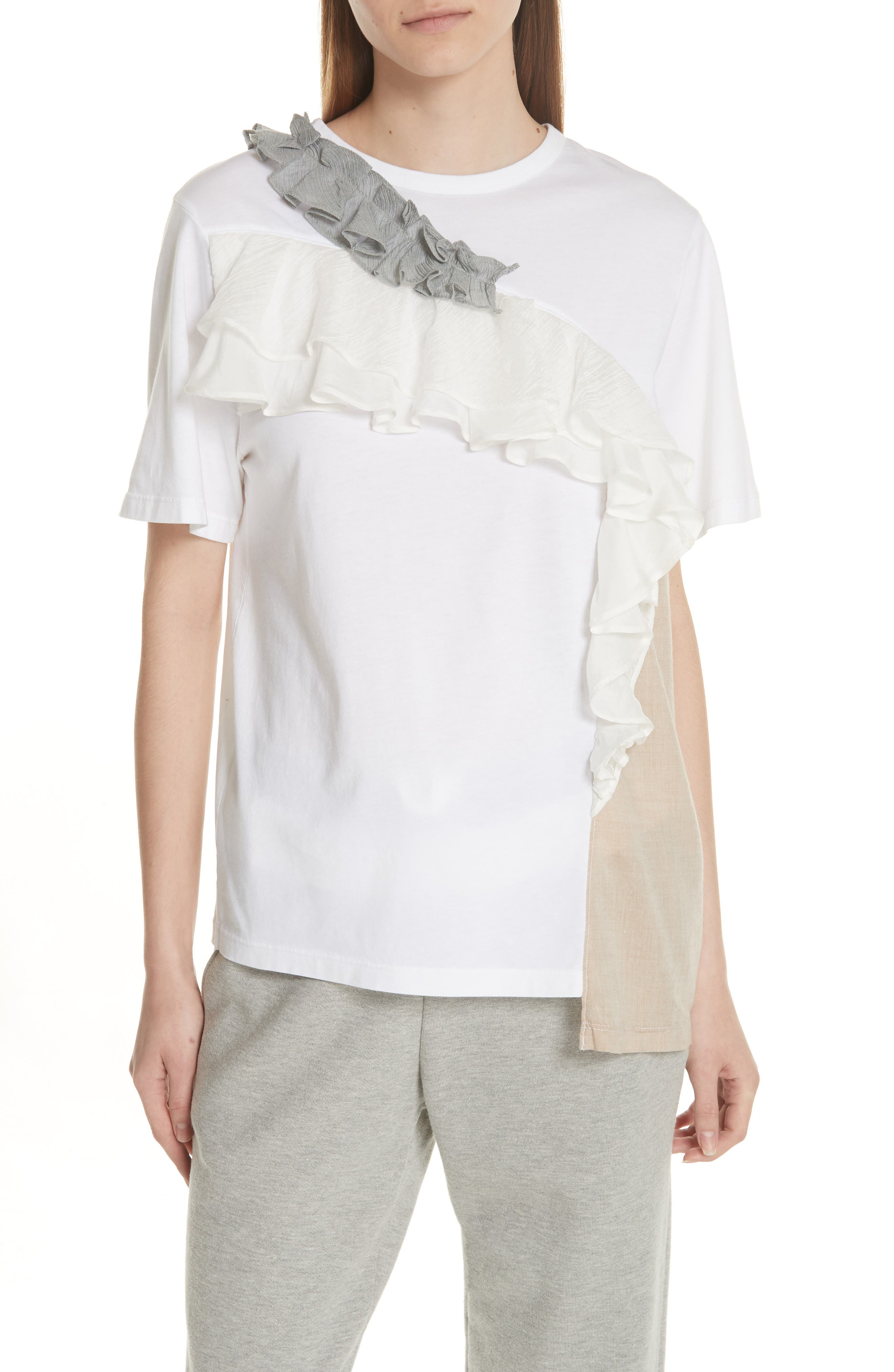 Ruffled Colorblock Top,                         Main,                         color, White
