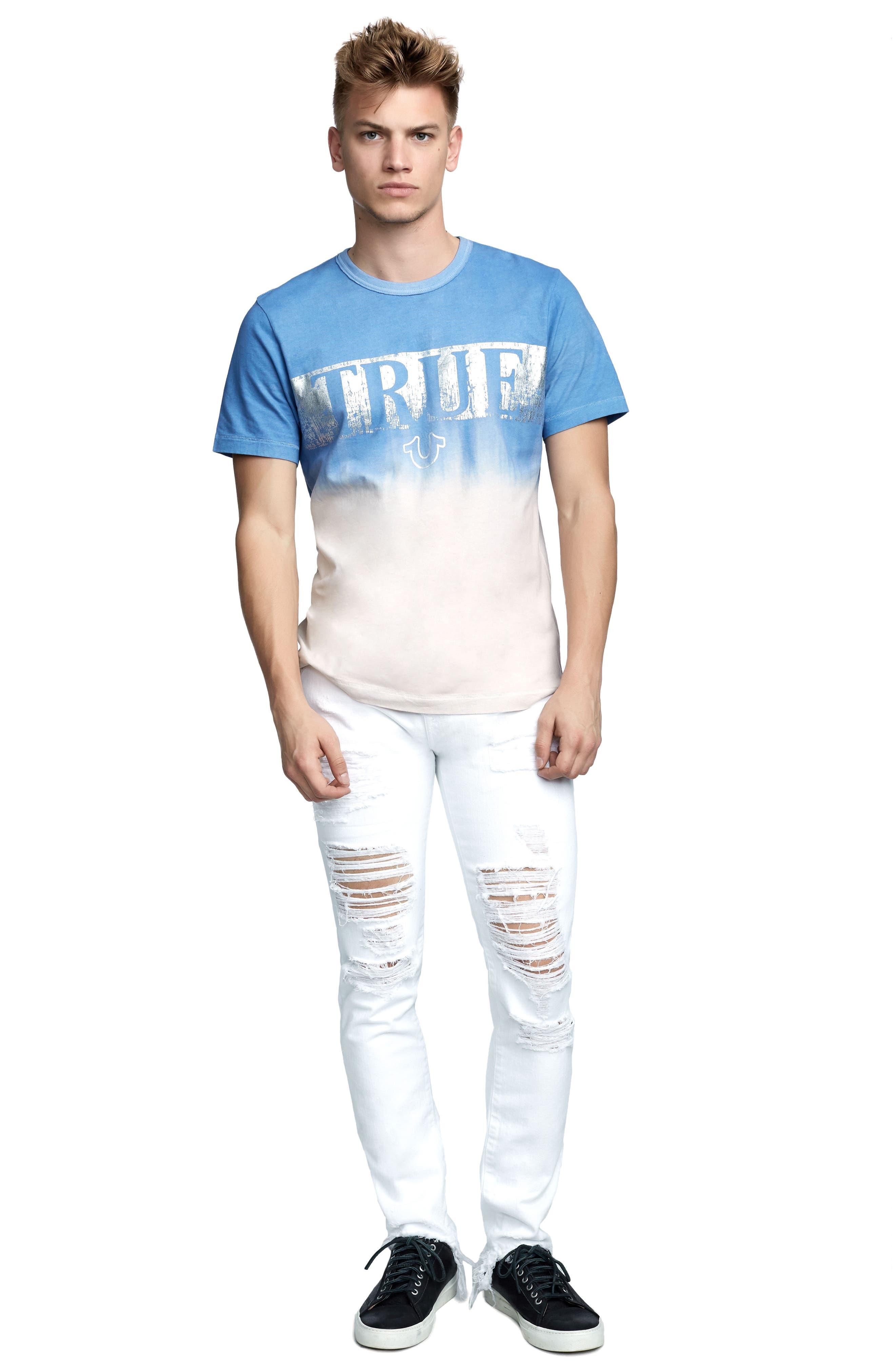 Metallic Dip Dye T-Shirt,                             Alternate thumbnail 3, color,                             Retro Blue