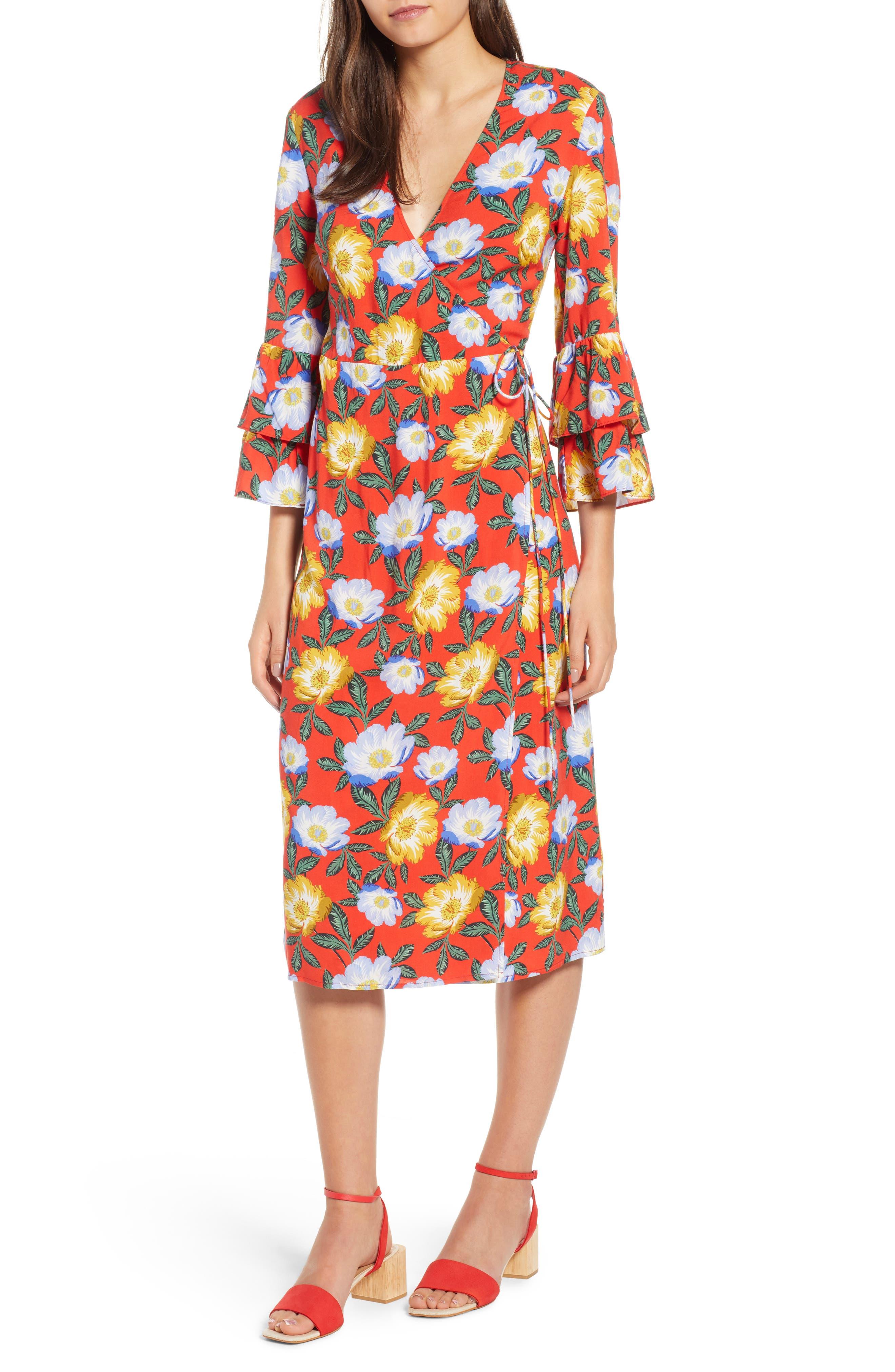 Reunion Floral Wrap Dress,                         Main,                         color, Scarlet Roselle