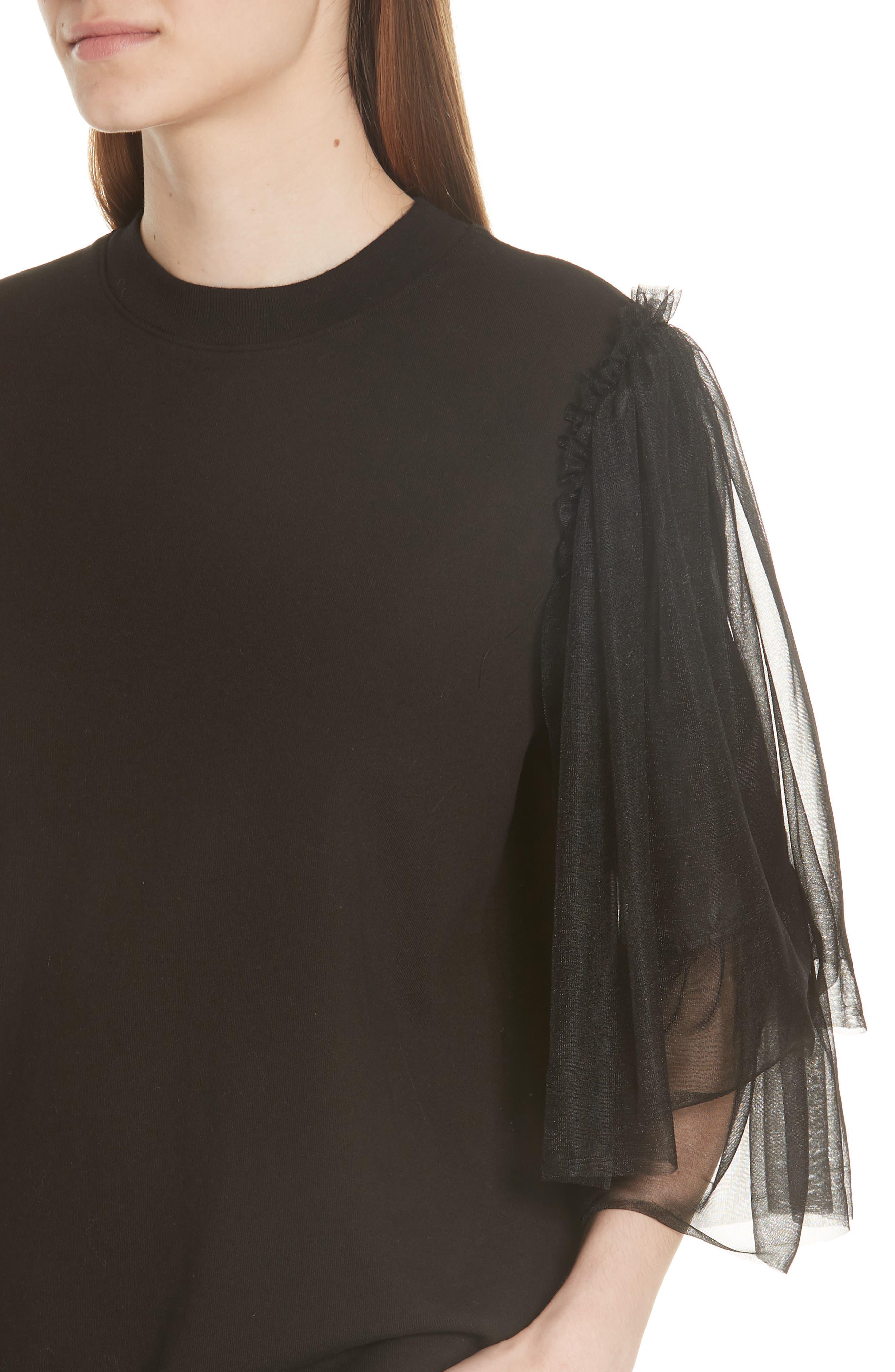 Tulle Sleeve Sweatshirt,                             Alternate thumbnail 4, color,                             Black
