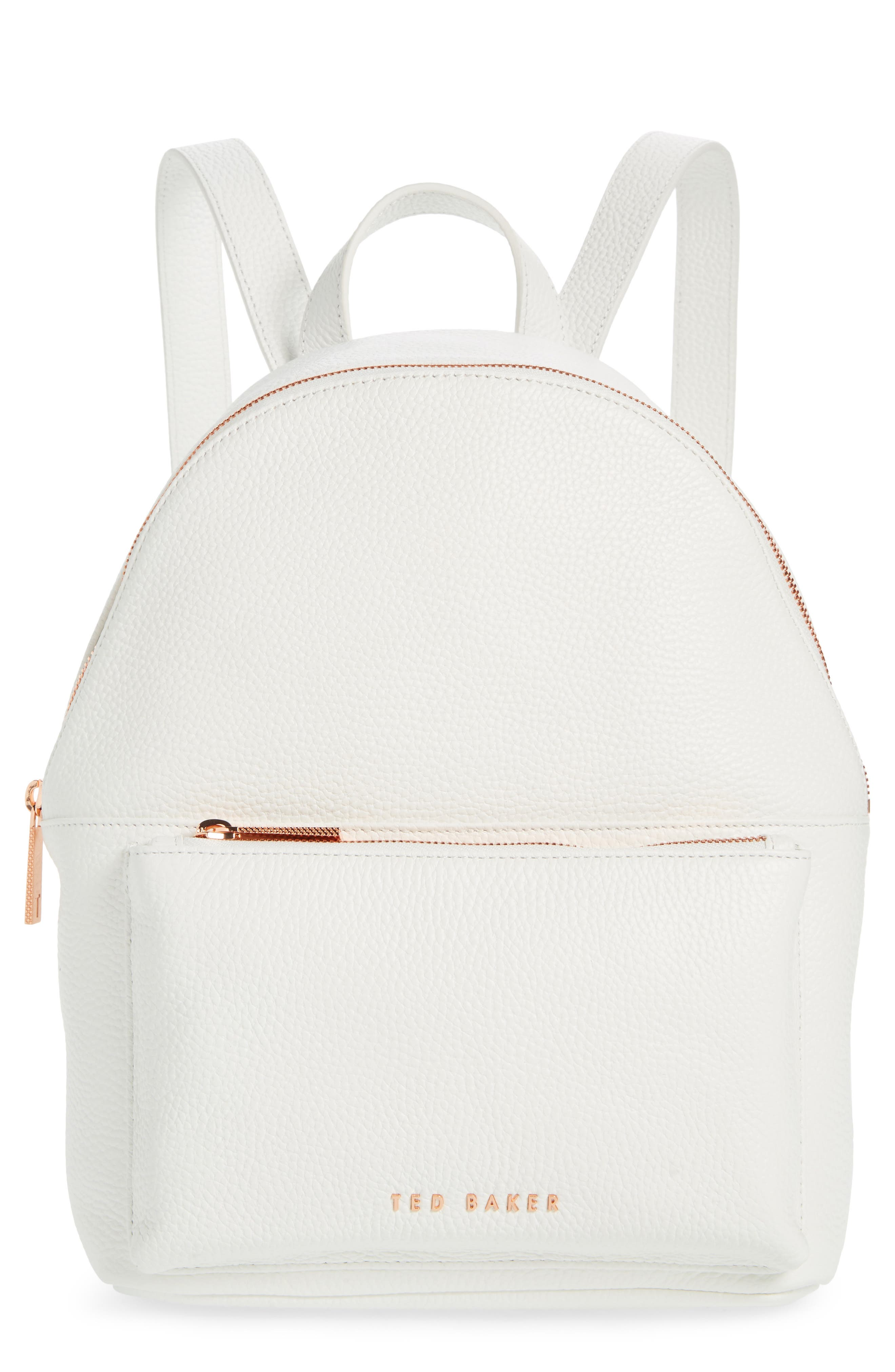 Pearen Leather Backpack,                         Main,                         color, White