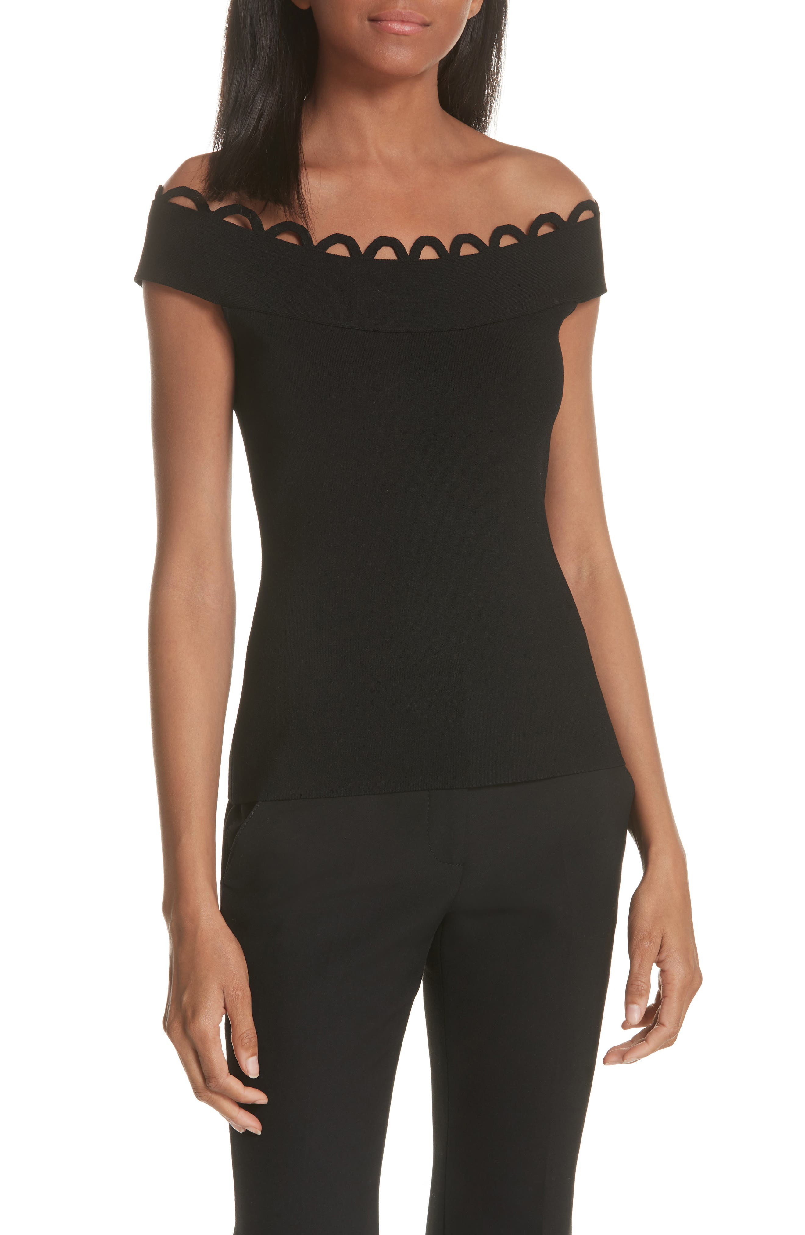 Scallop Neck Knit Top,                             Main thumbnail 1, color,                             Black