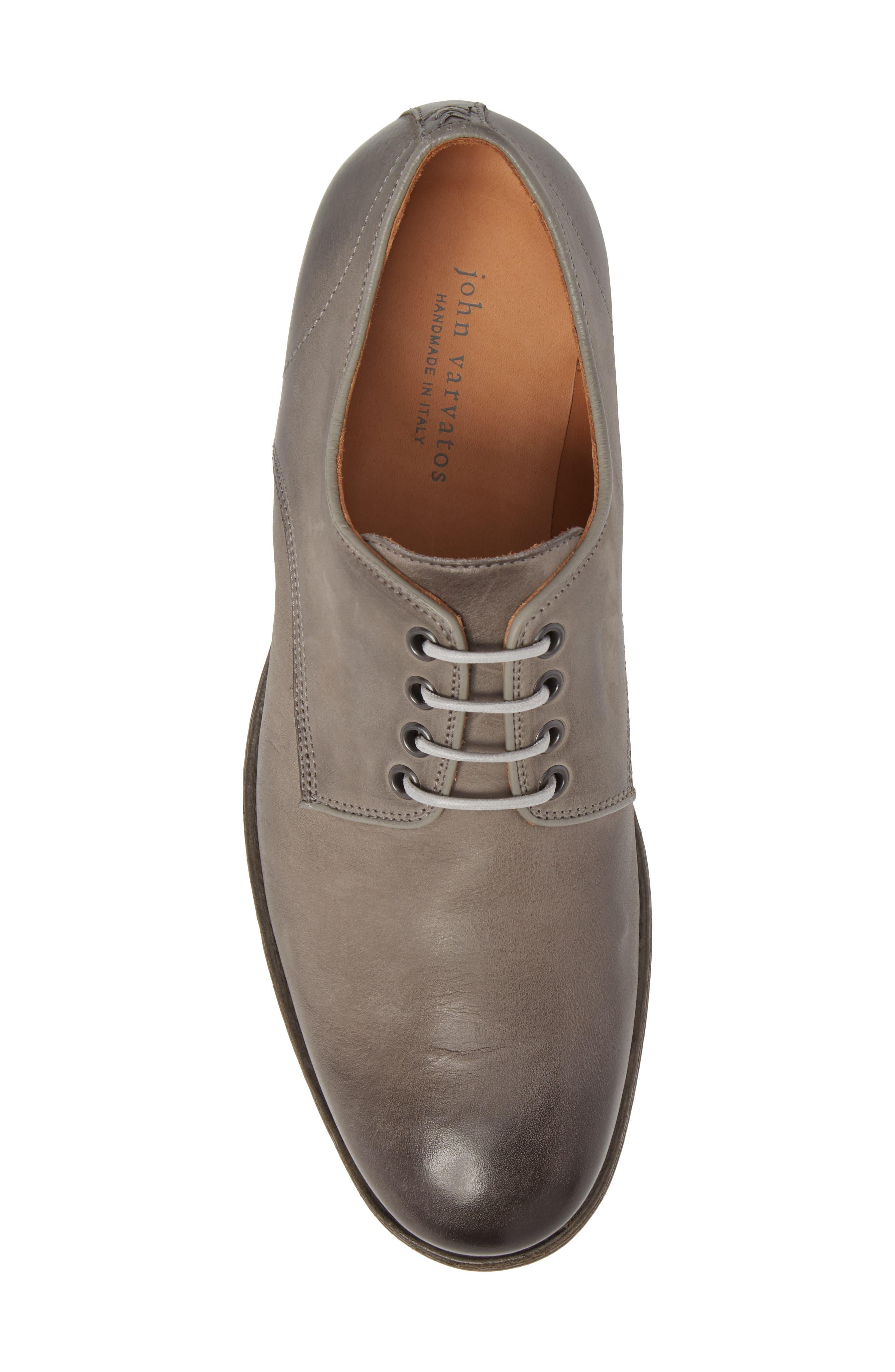 John Varvatos Stanton Plain Toe Derby,                             Alternate thumbnail 5, color,                             Ash Leather