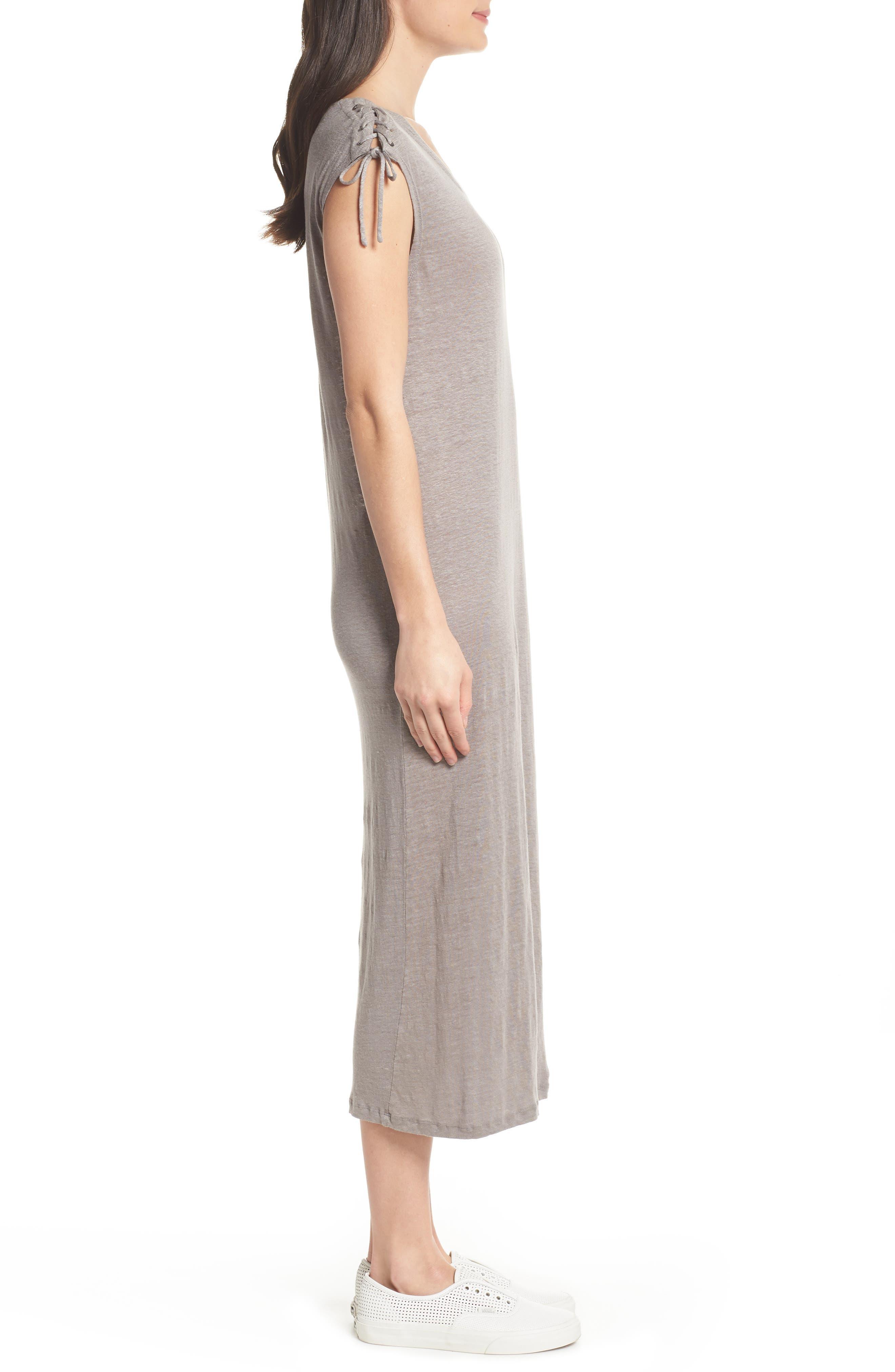 Lace-up Shoulder Jersey Midi Dress,                             Alternate thumbnail 3, color,                             Grey
