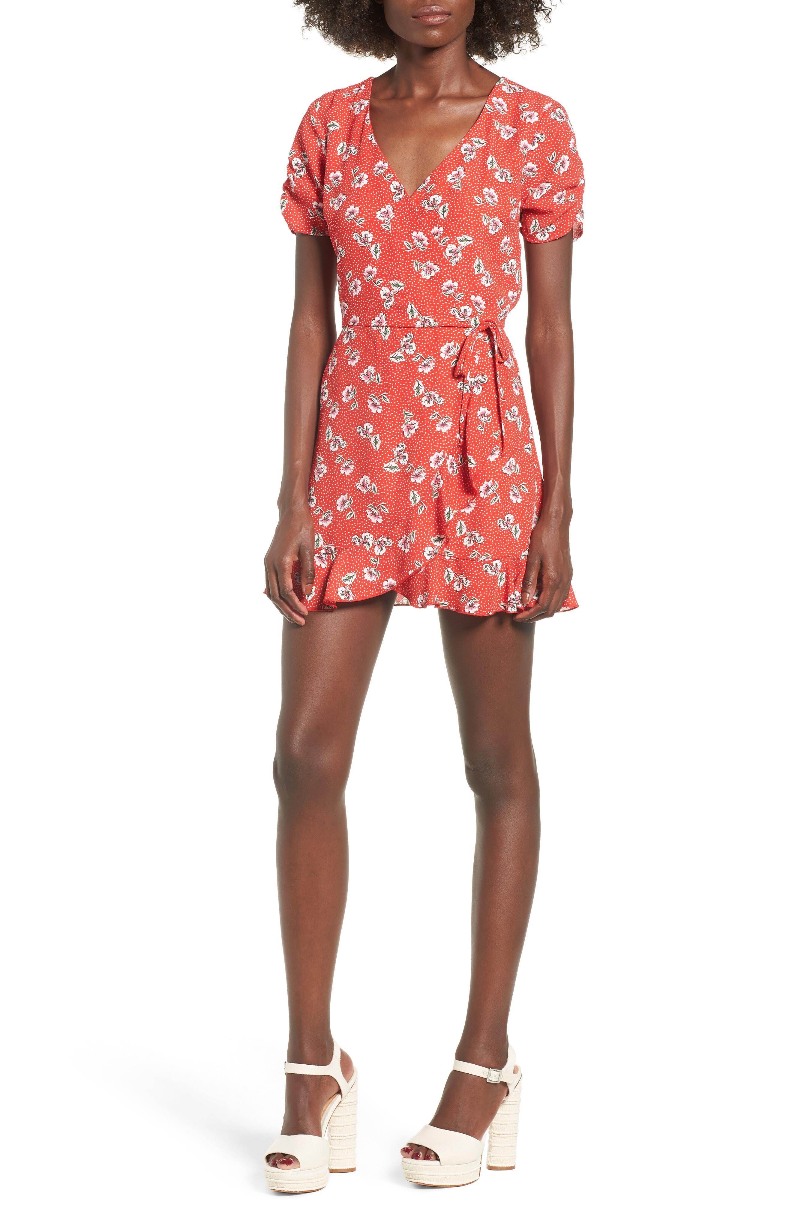 Floral Print Romper,                             Main thumbnail 1, color,                             Red