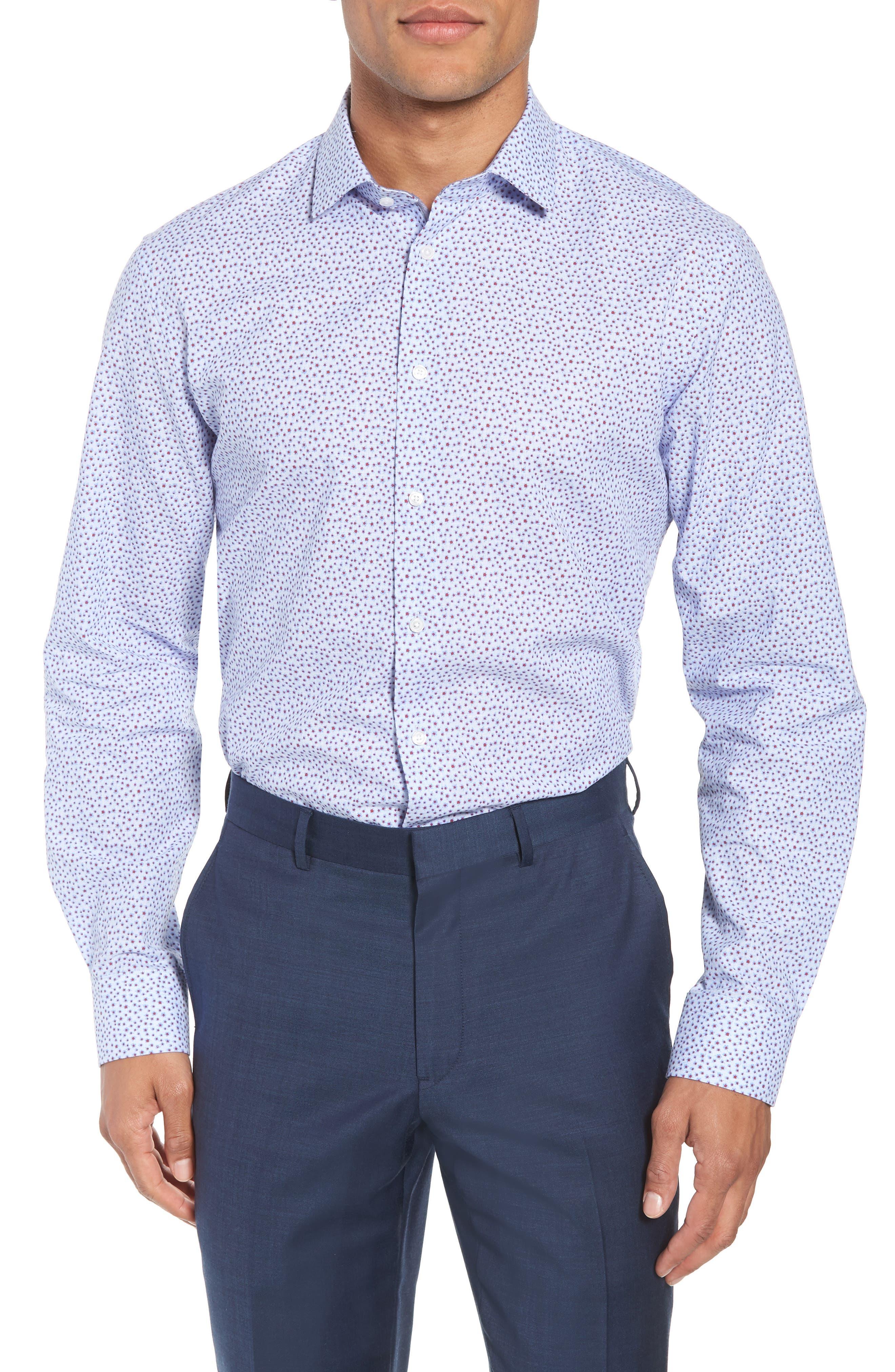Calibrate Trim Fit Print Cotton & Linen Dress Shirt