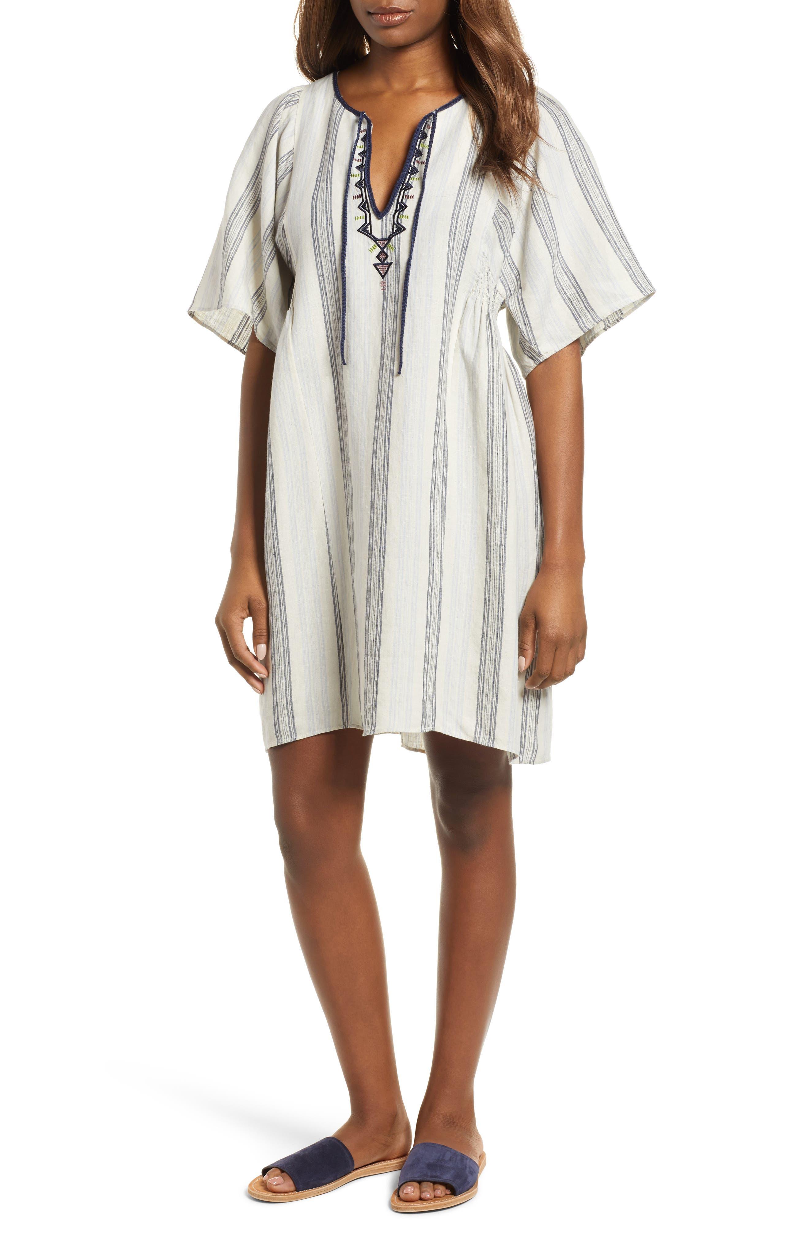 Caslon® Stripe Linen Keyhole Shift Dress (Regular & Petite)