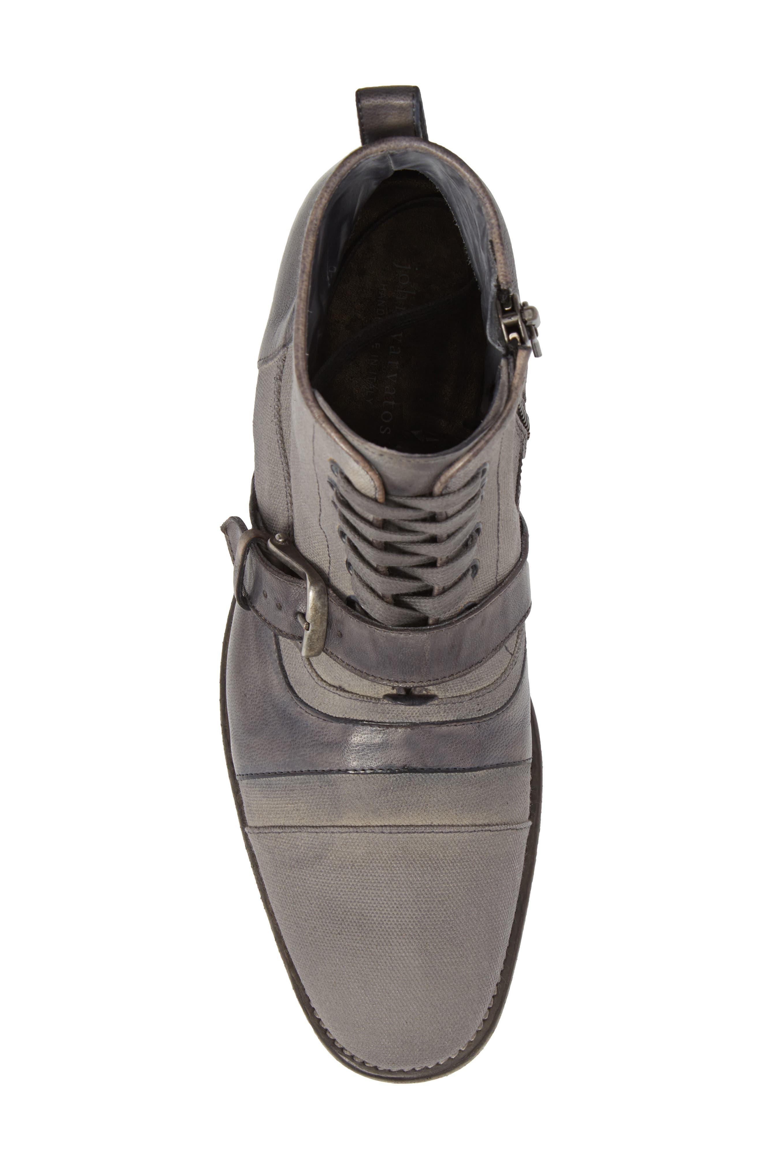 John Varvatos Fleetwood Buckle Cricket Boot,                             Alternate thumbnail 5, color,                             Lead Canvas/ Leather