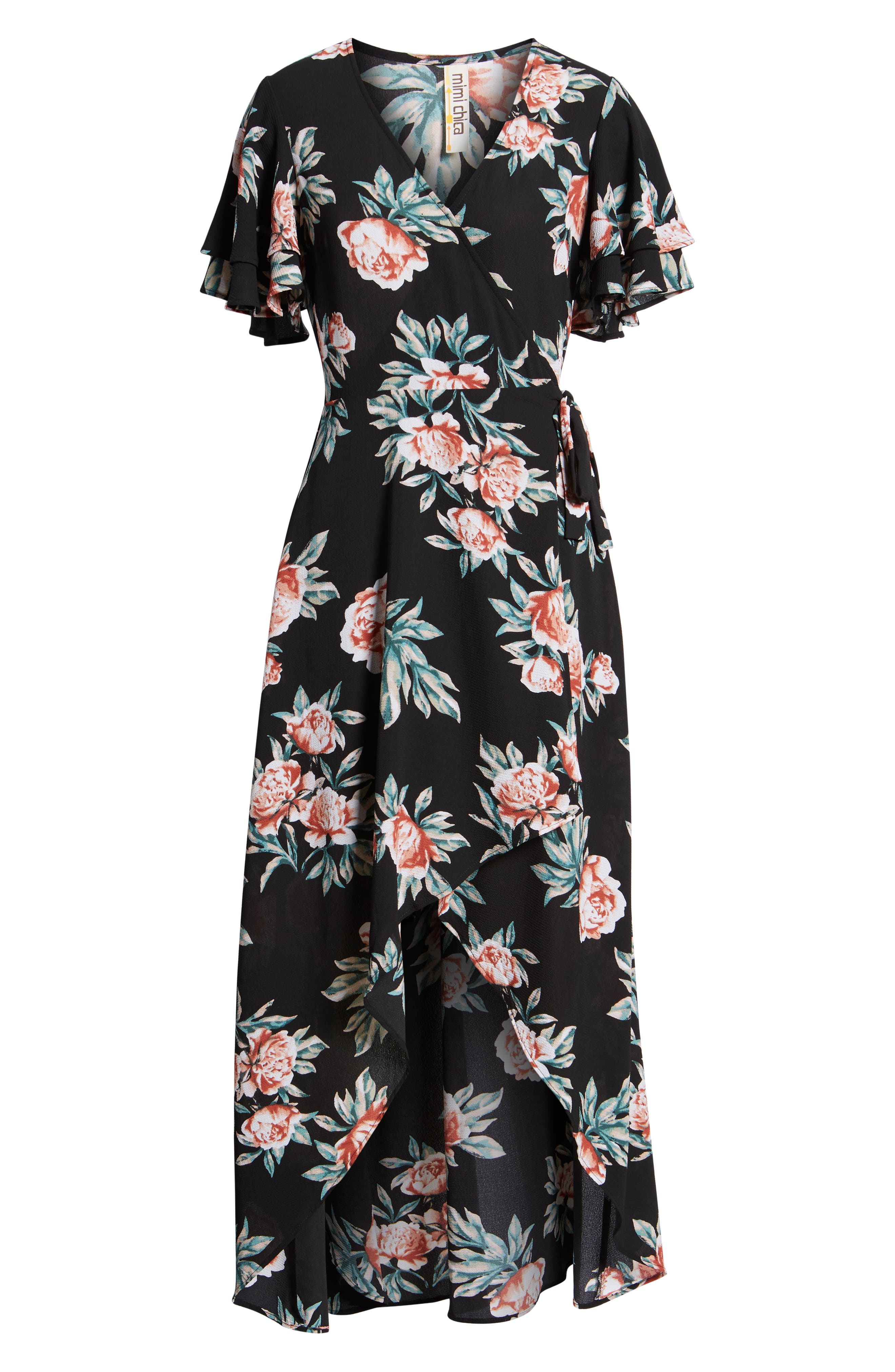 Ruffle Sleeve Floral Maxi Dress,                             Alternate thumbnail 7, color,                             Black Floral
