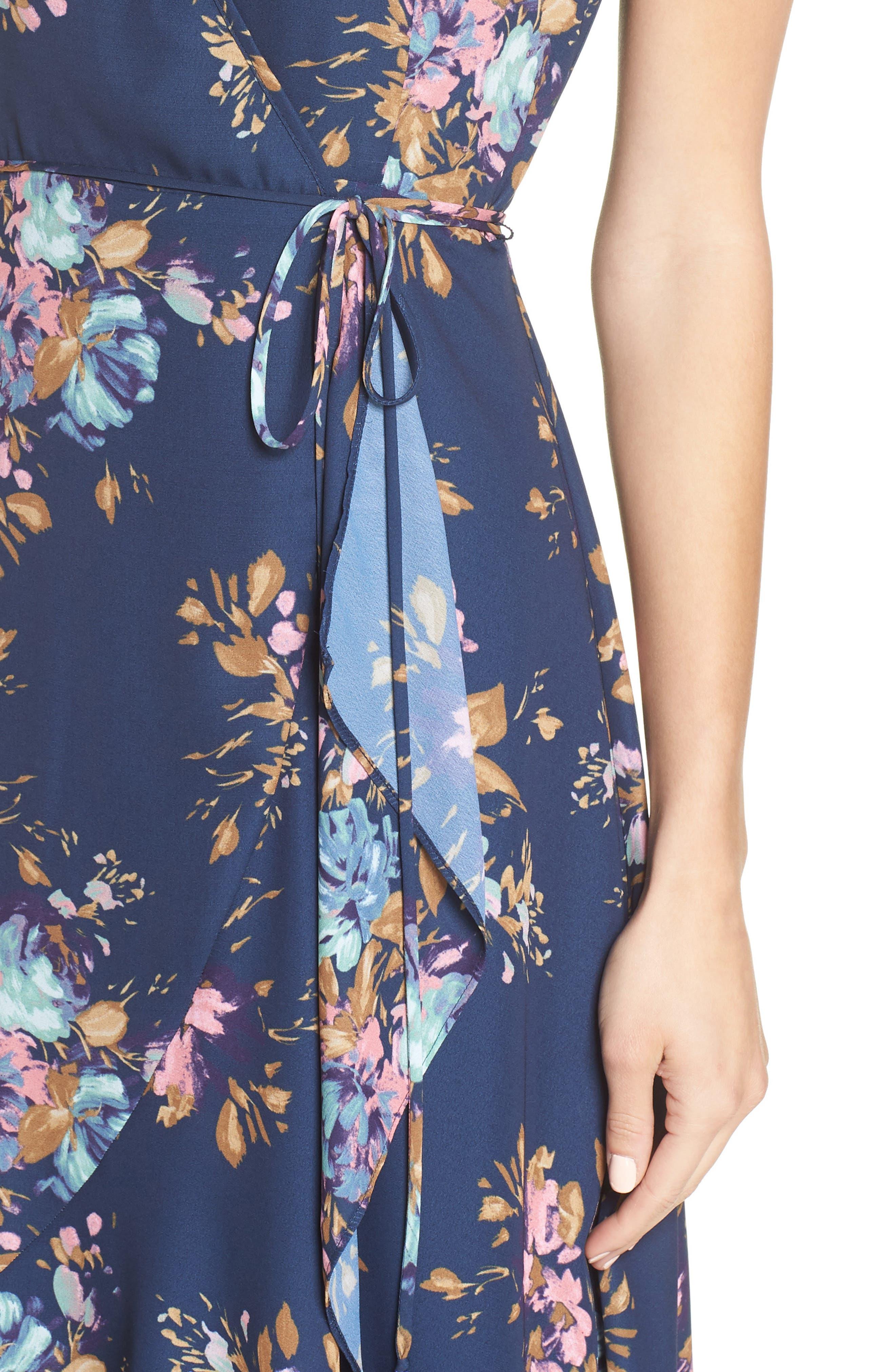 Floral Sleeveless Wrap Dress,                             Alternate thumbnail 4, color,                             Navy Floral