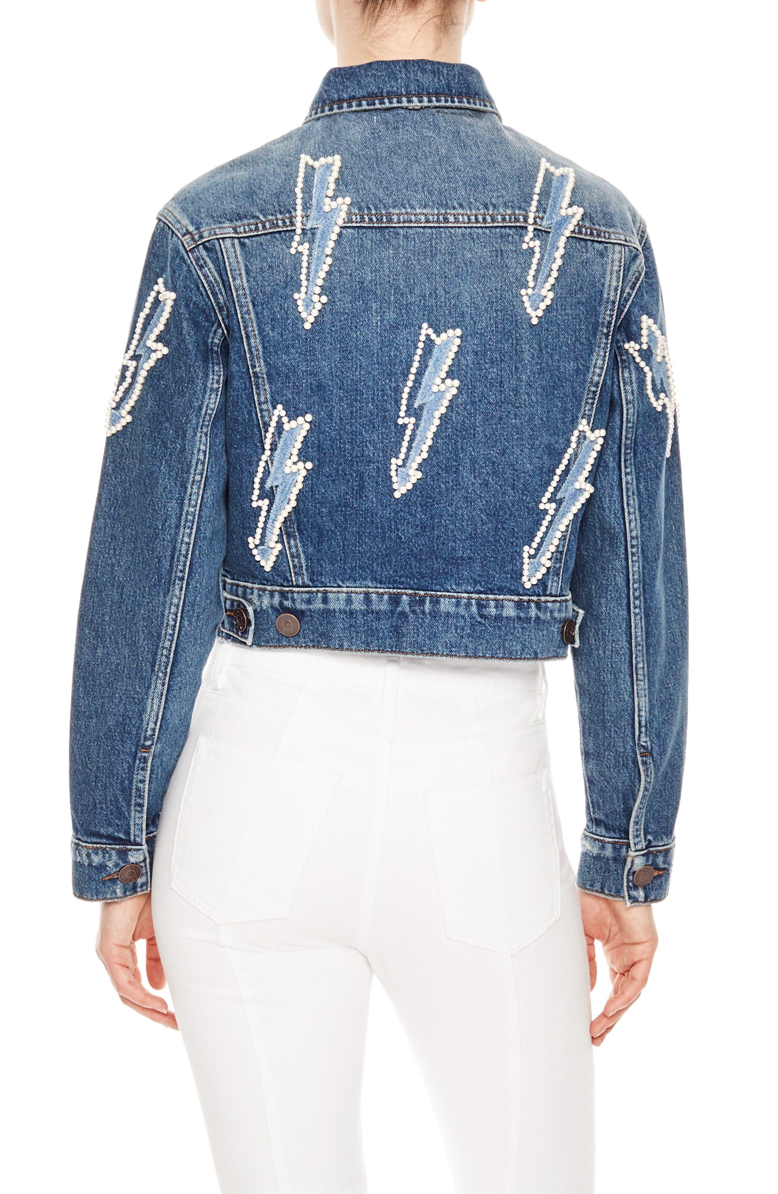Pearly Bauble Lightning Bolt Denim Jacket,                             Alternate thumbnail 2, color,                             Blue Vintage - Denim