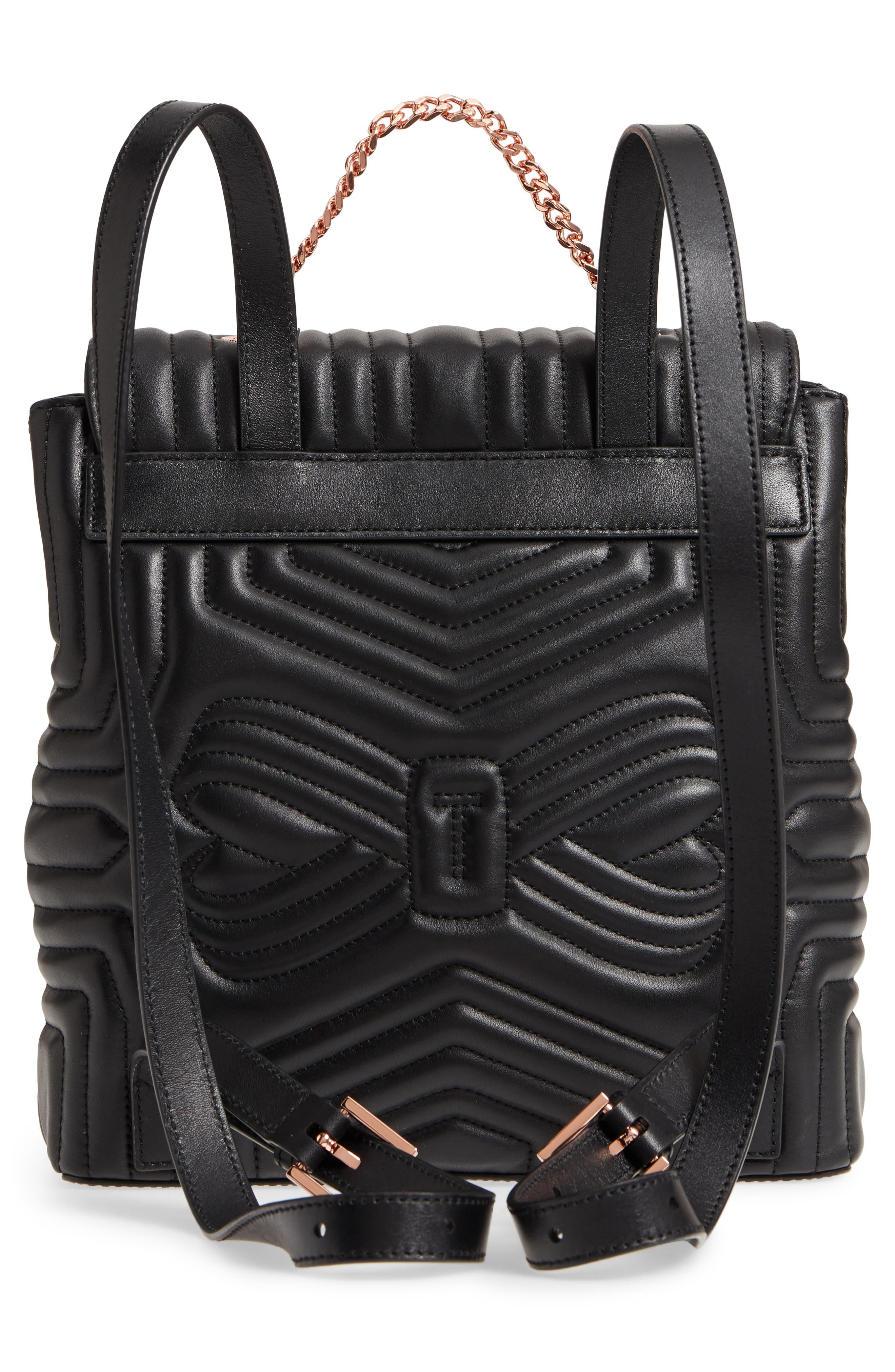 Quilted Bow Leather Backpack,                             Alternate thumbnail 3, color,                             Black