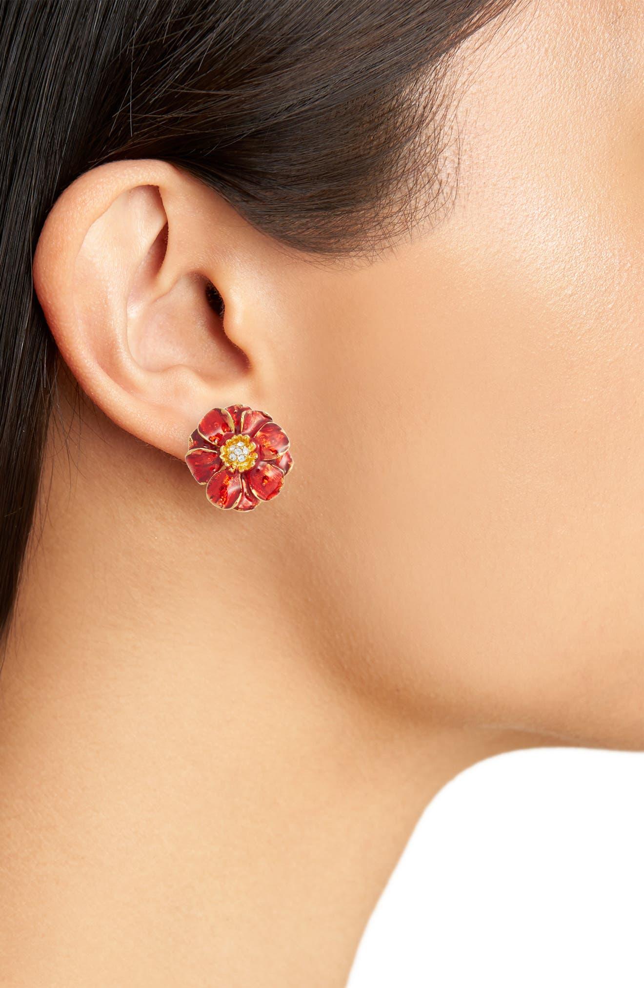 Goldtone Les Roses Earrings,                             Alternate thumbnail 2, color,                             Multi