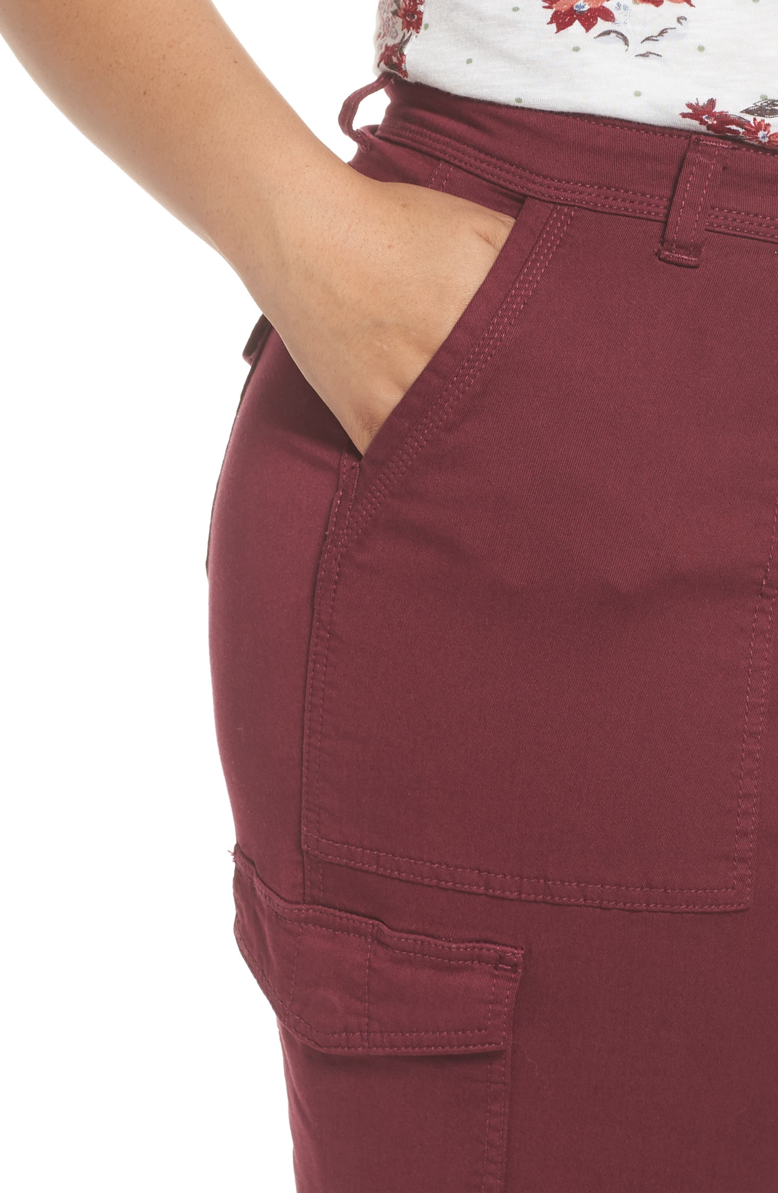 Stretch Twill Utility Pants,                             Alternate thumbnail 4, color,                             Burgundy