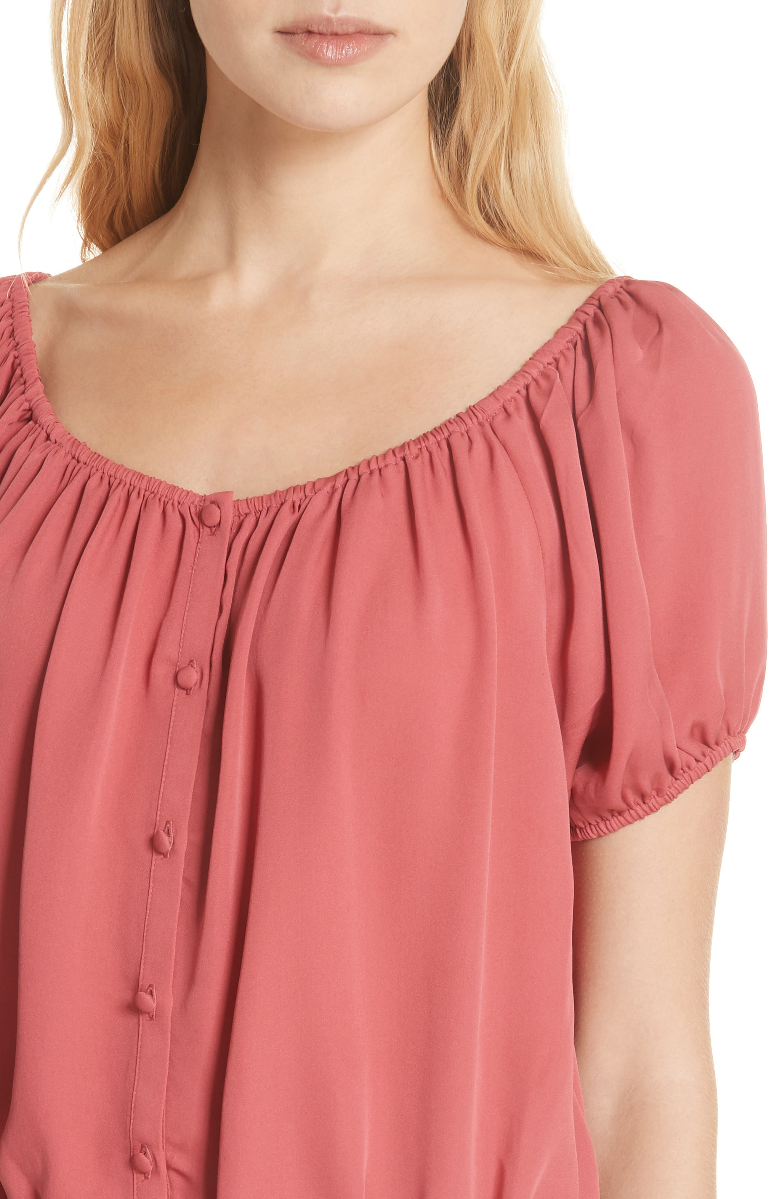 Blesina Tie Front Short Sleeve Silk Blouse,                             Alternate thumbnail 4, color,                             West Rose