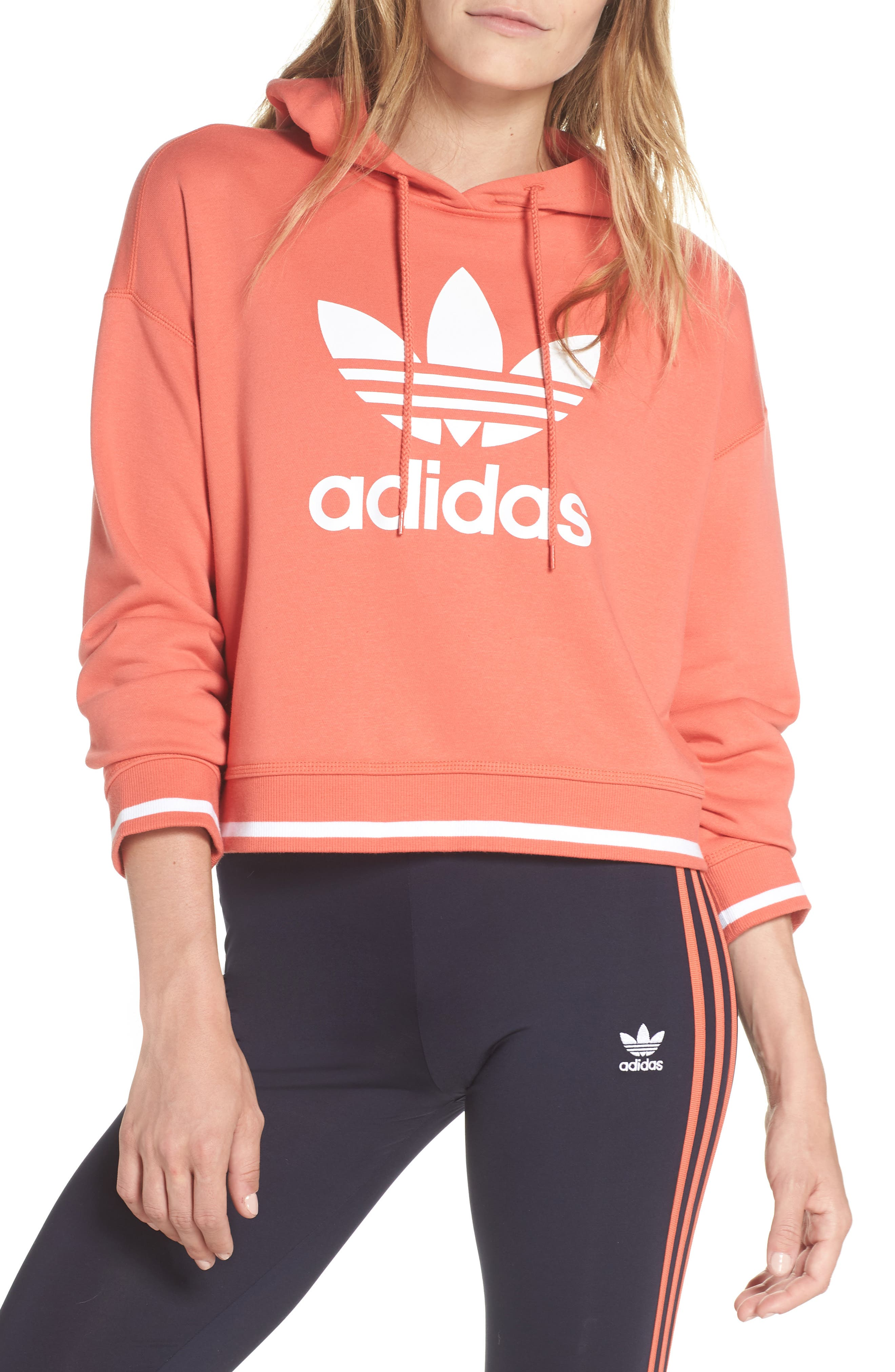 Active Icons Cropped Hoodie,                         Main,                         color, Trace Scarlet