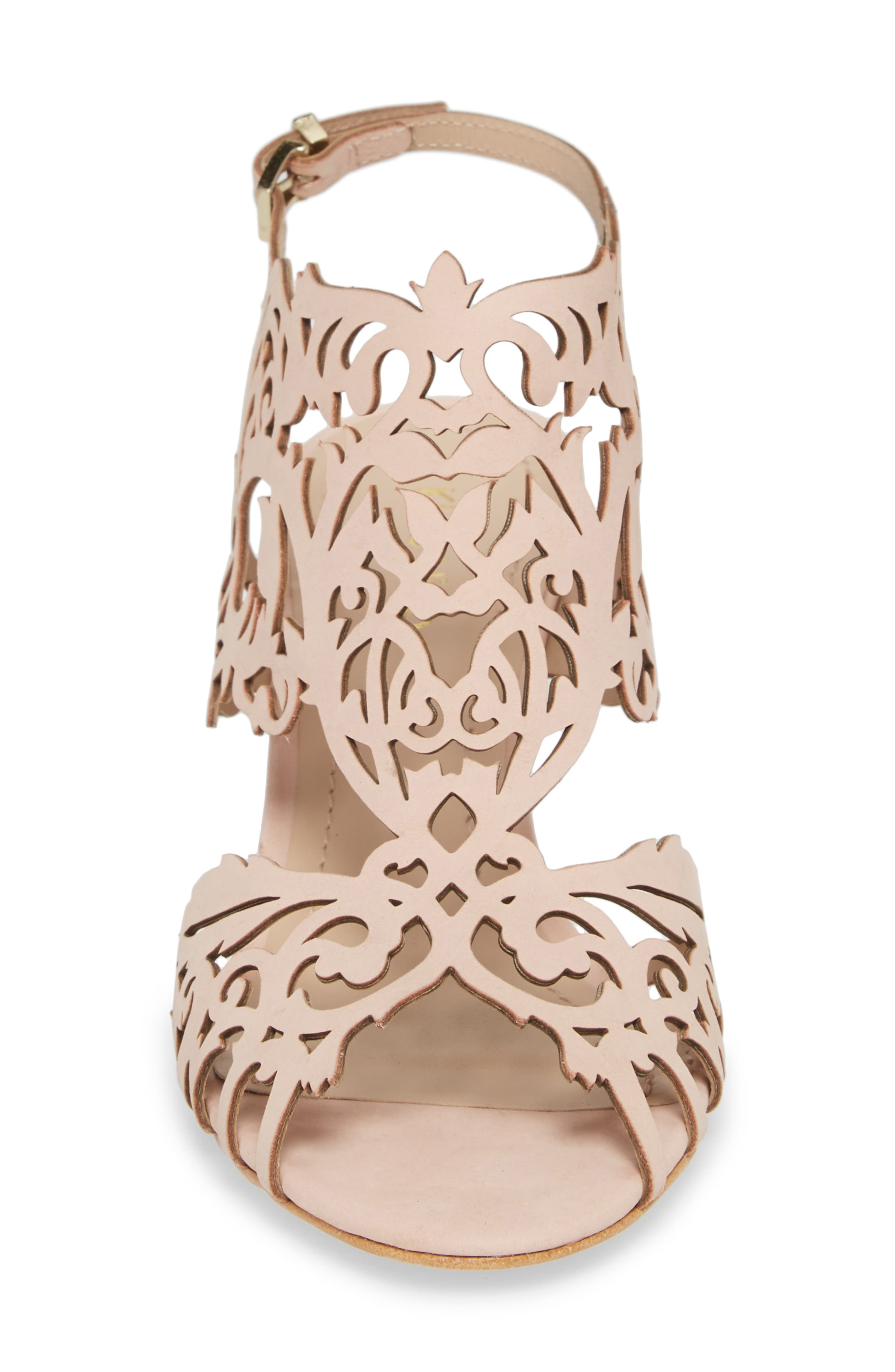 Marcela Laser Cutout Wedge Sandal,                             Alternate thumbnail 4, color,                             Blush Leather