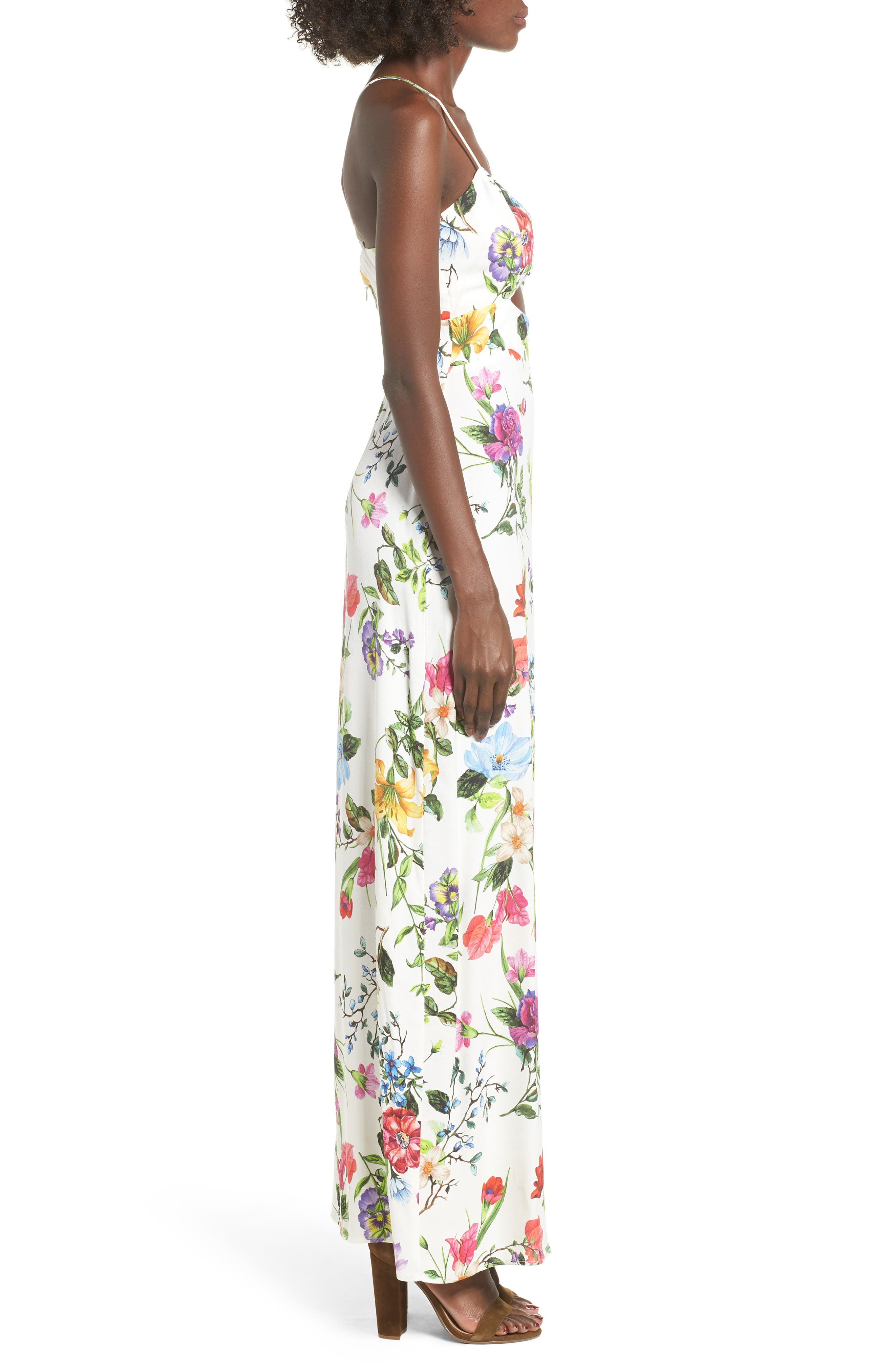 Marie Twisted Knot Front Maxi Dress,                             Alternate thumbnail 3, color,                             Multi Floral