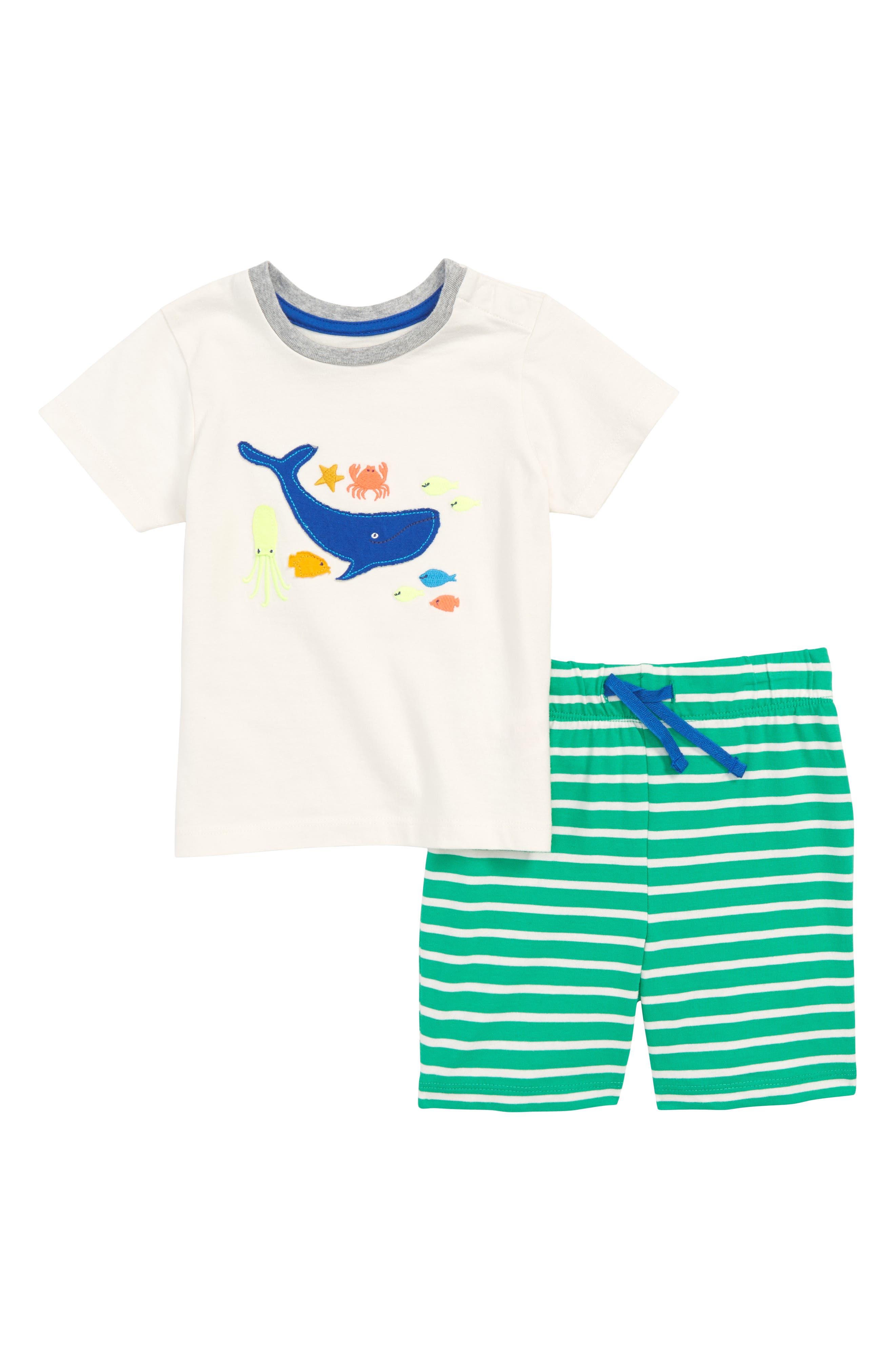 Mini Boden Fun Appliqué T-Shirt & Stripe Shorts Set (Baby Boys & Toddler Boys)