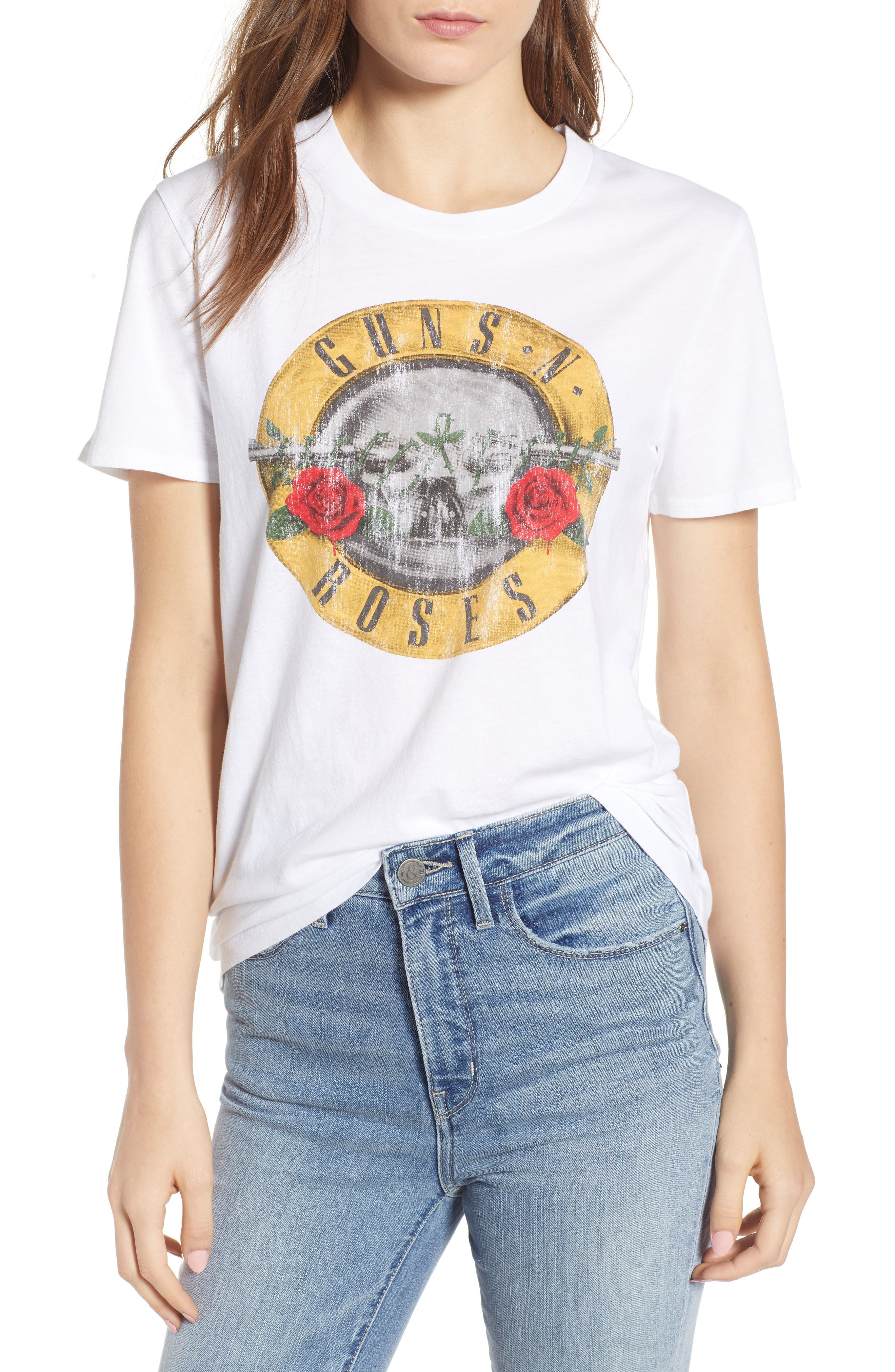 Guns N Roses Graphic Tee,                         Main,                         color, White Combo