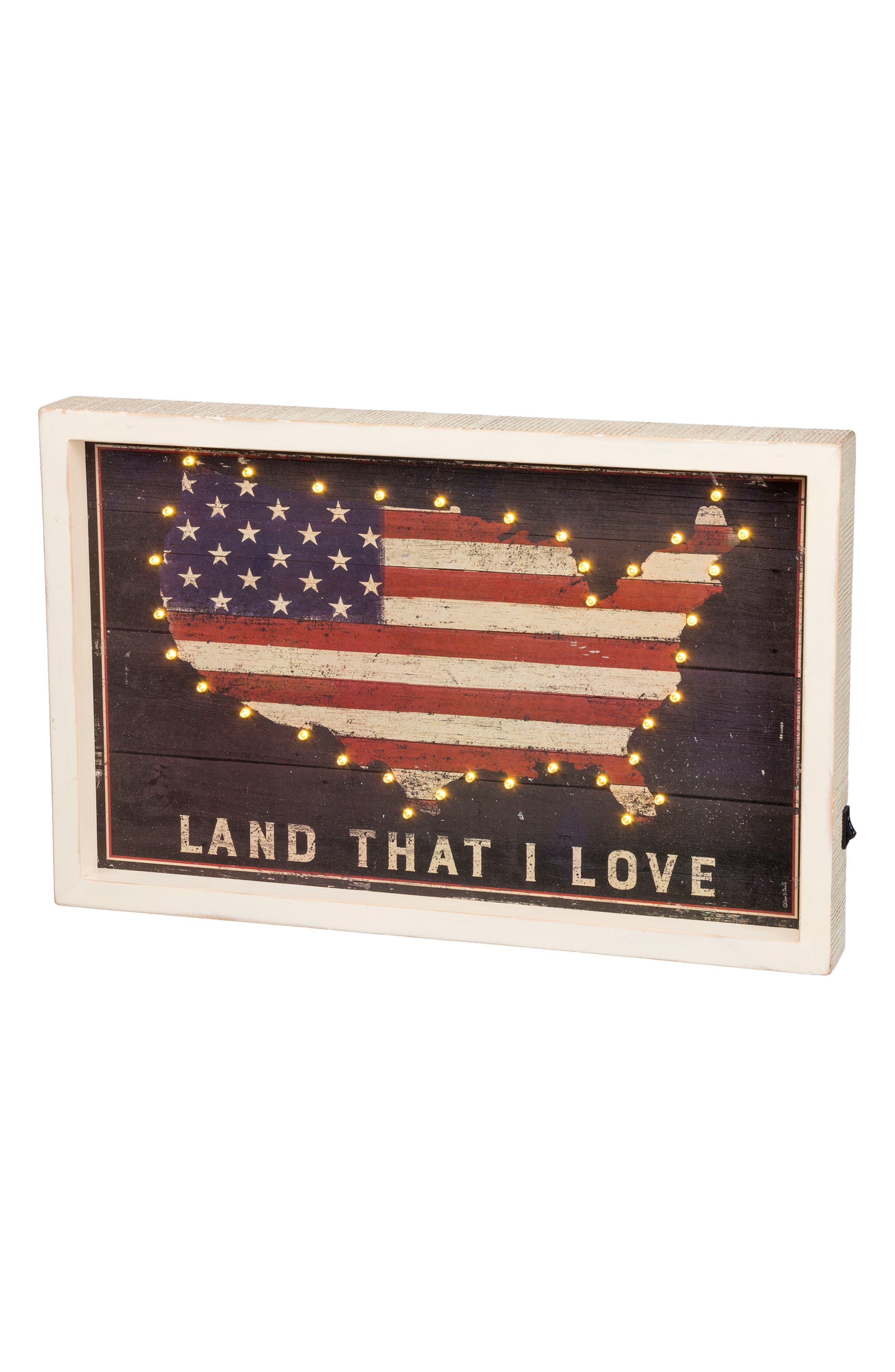 Land I Love LED Box Sign,                         Main,                         color, White