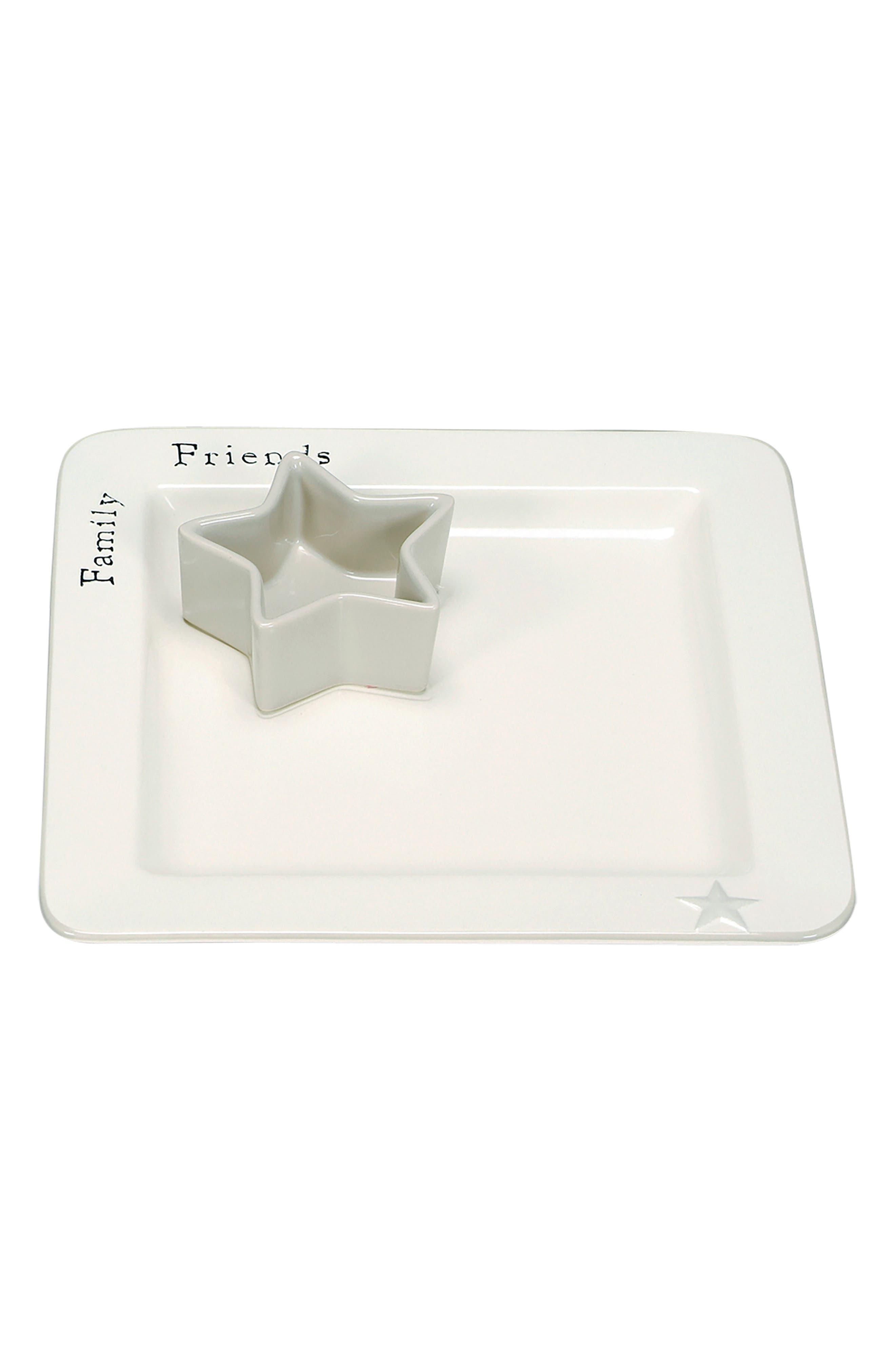 Word Expressions Serving Platter & Bowl Set,                         Main,                         color, White