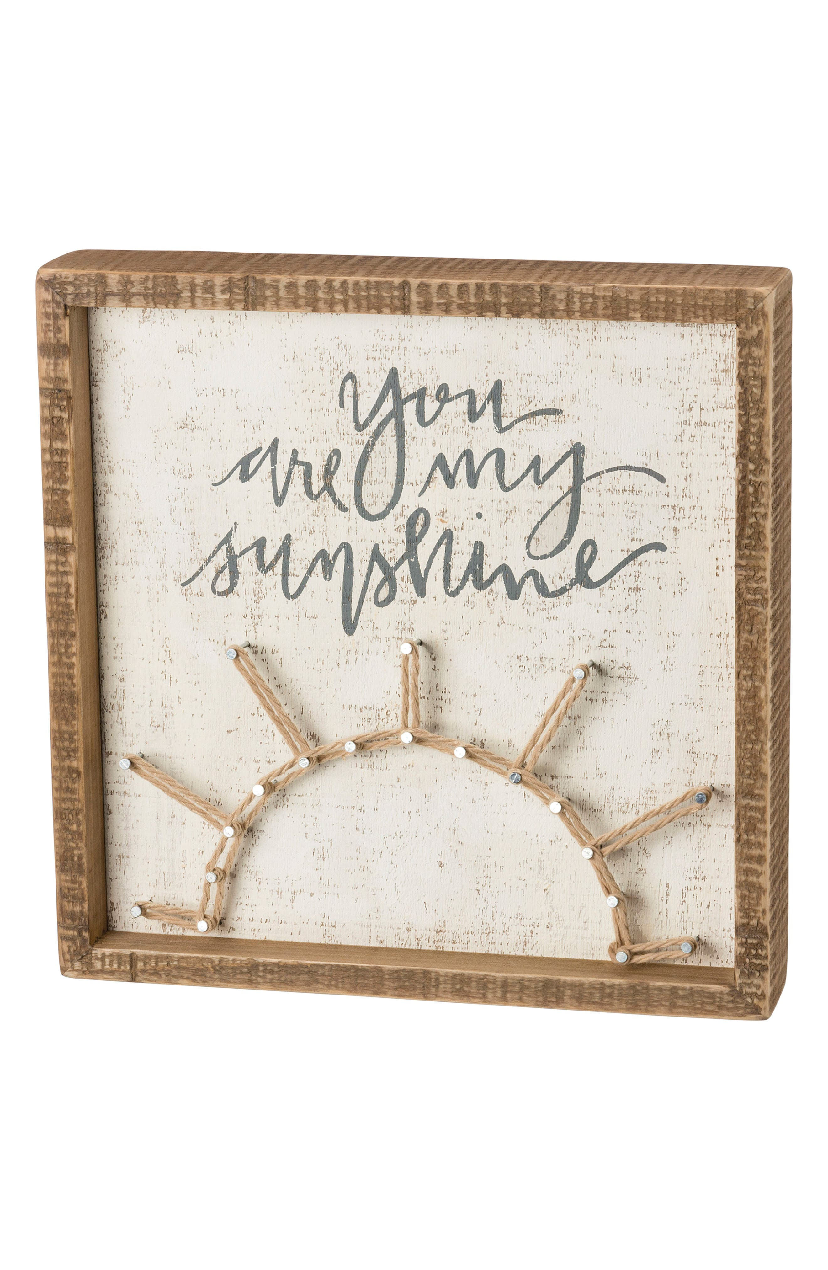 You Are My Sunshine String Art Box Sign,                             Main thumbnail 1, color,                             White