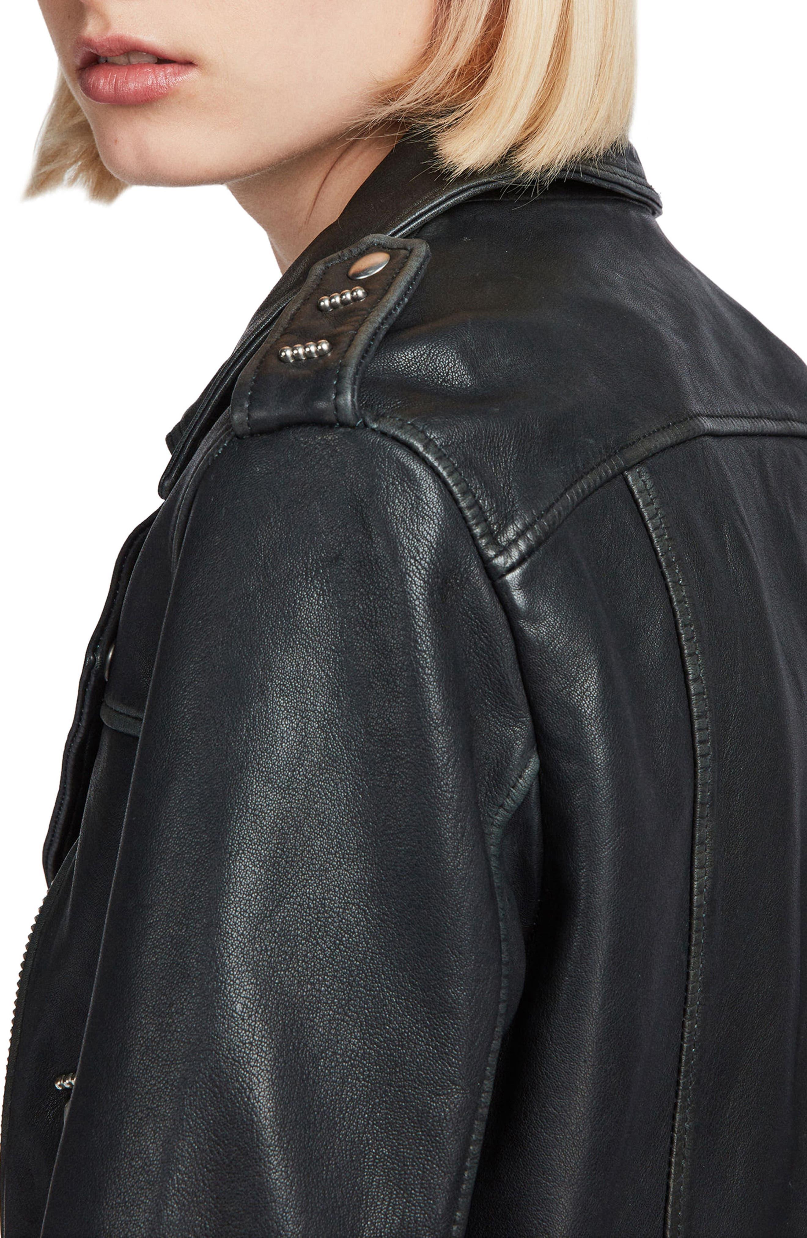 Lara Sheepskin Leather Biker Jacket,                             Alternate thumbnail 4, color,                             Black