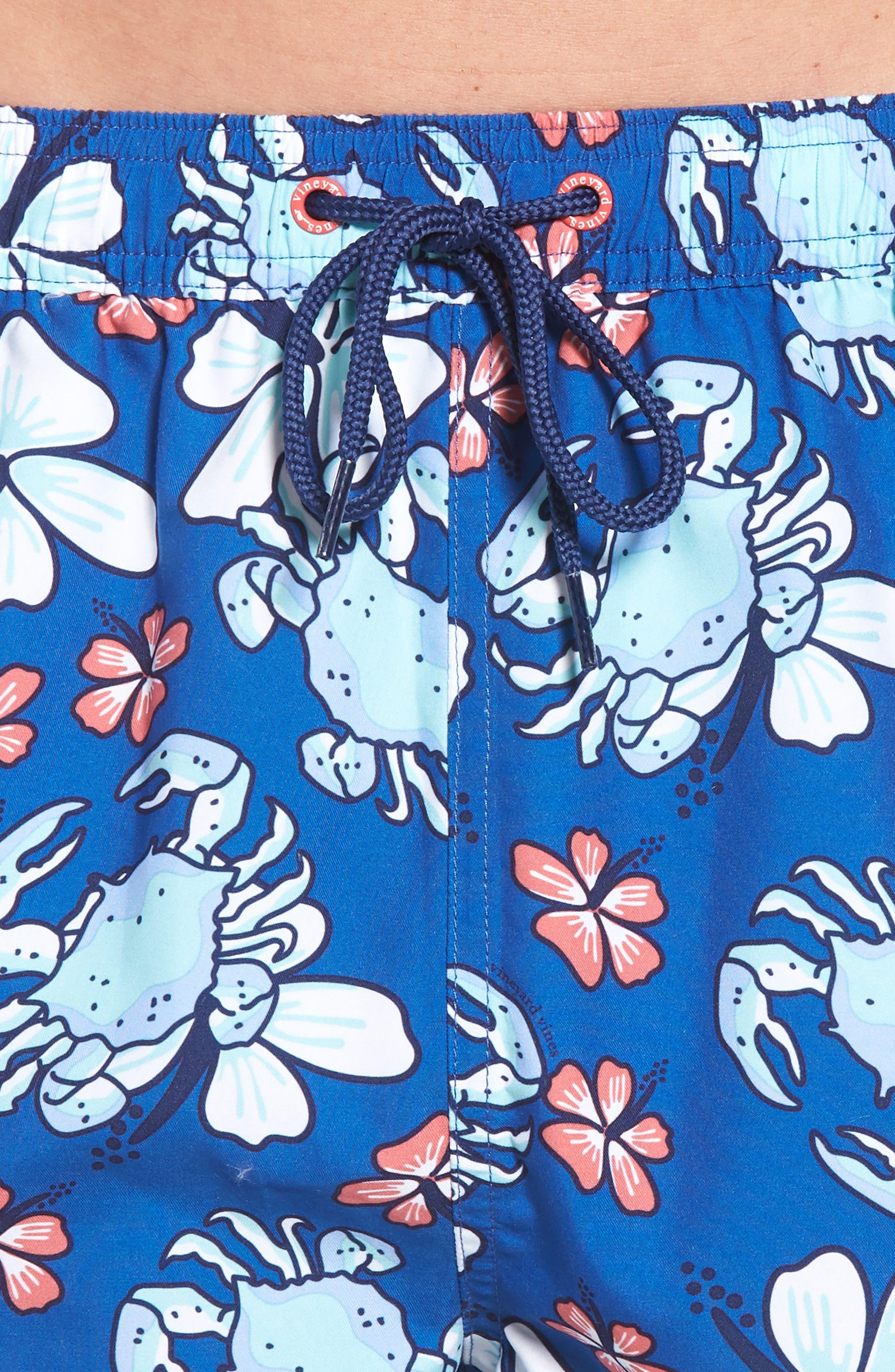 Chappy Crab Floral Swim Trunks,                             Alternate thumbnail 4, color,                             Yacht Blue