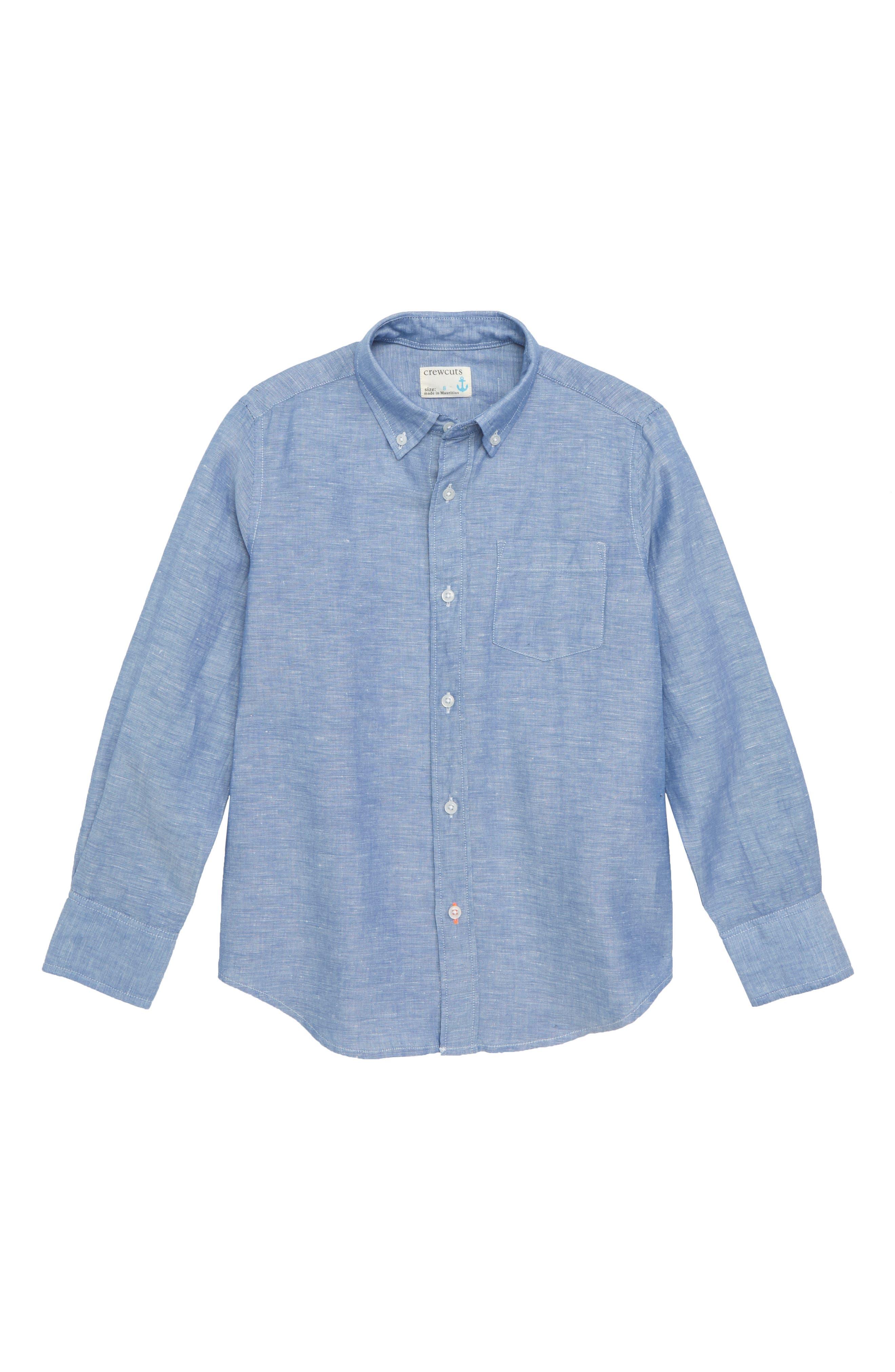 Linen & Cotton Shirt,                         Main,                         color, Mediterranean Coast
