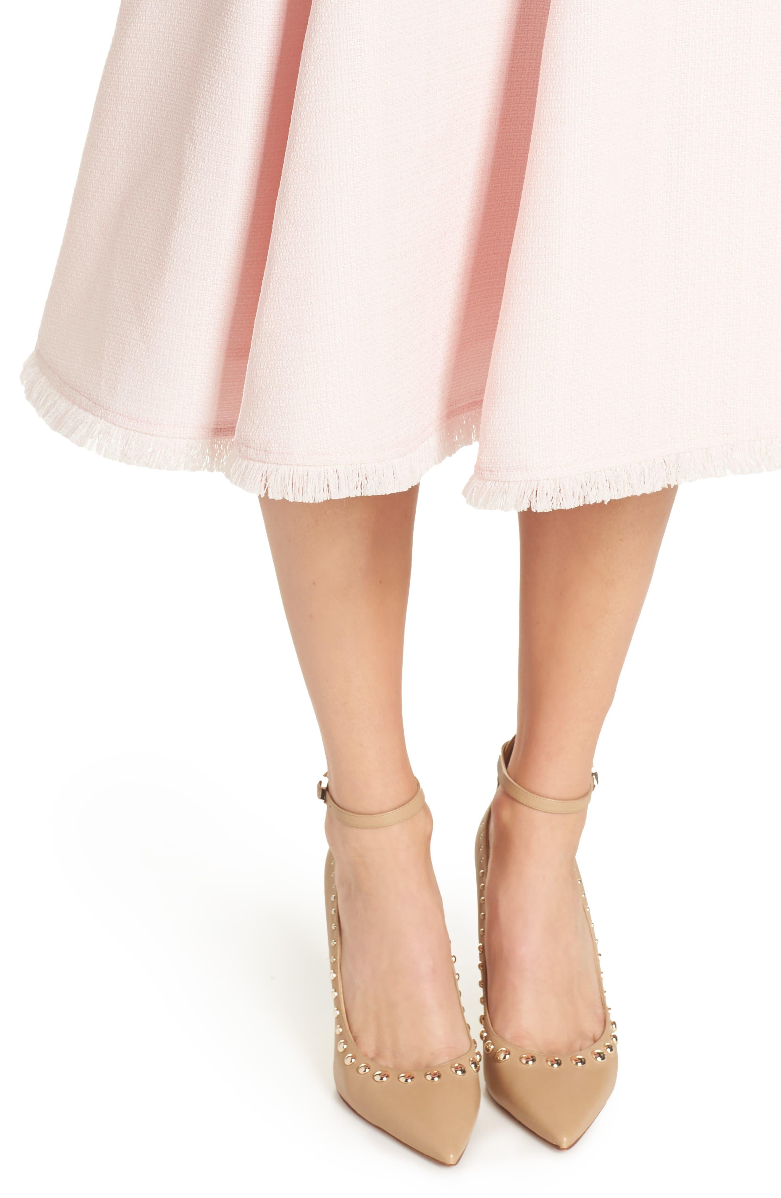 Fringe Hem A-Line Dress,                             Alternate thumbnail 4, color,                             Blush