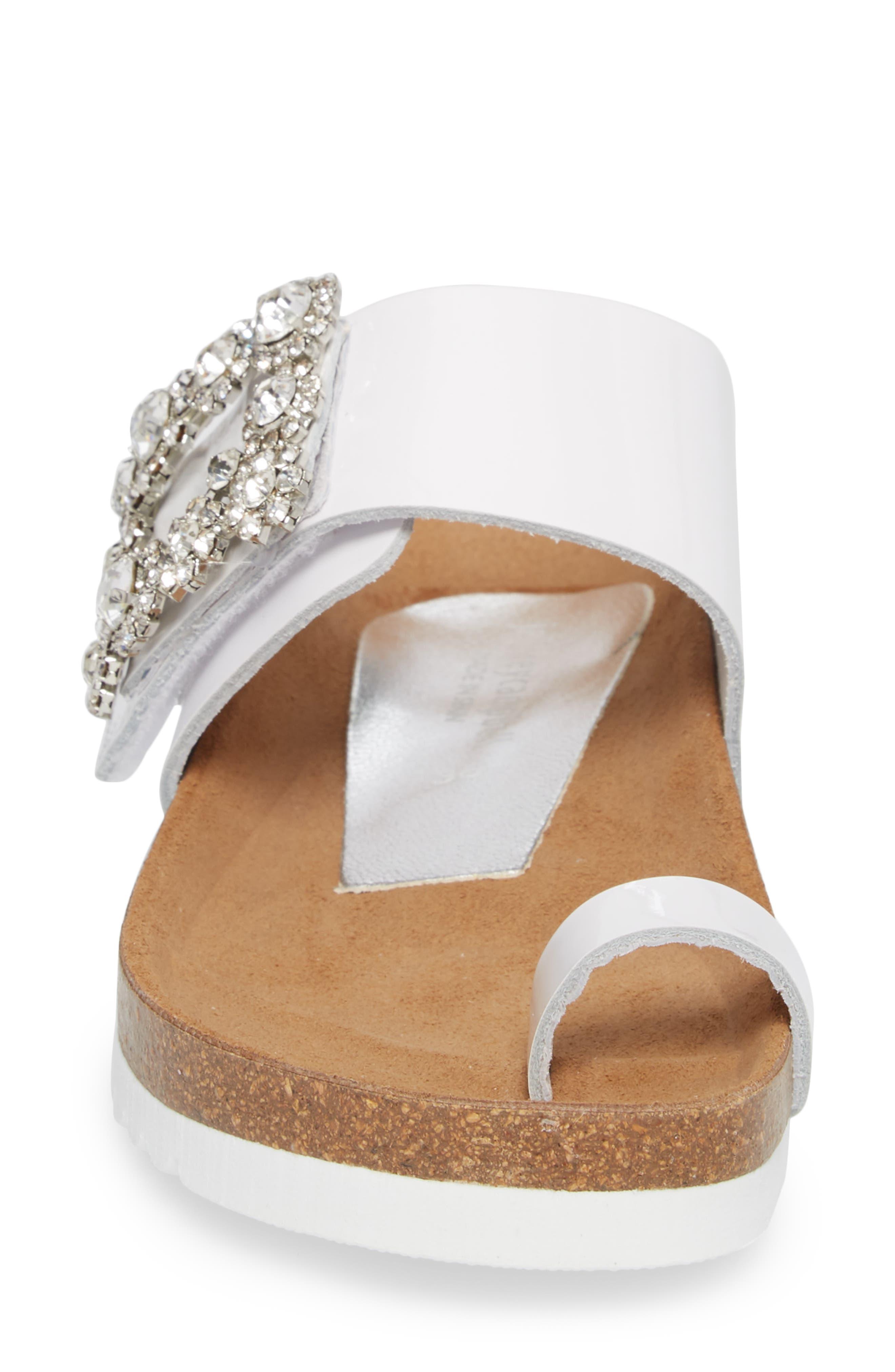 Bianca Embellished Slide Sandal,                             Alternate thumbnail 4, color,                             White Patent/ Silver