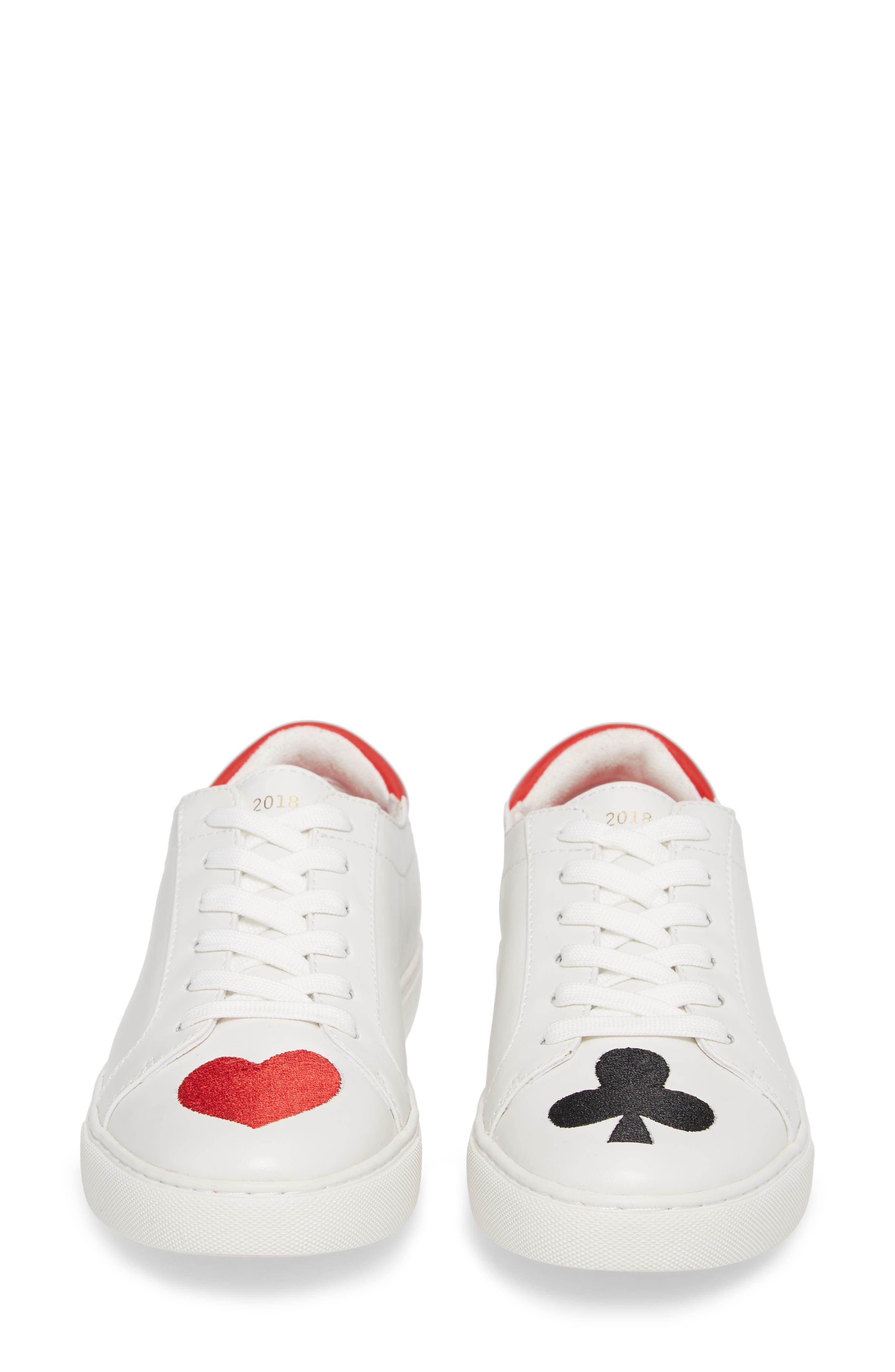 'Kam' Sneaker,                             Alternate thumbnail 5, color,                             White Red Black Leather