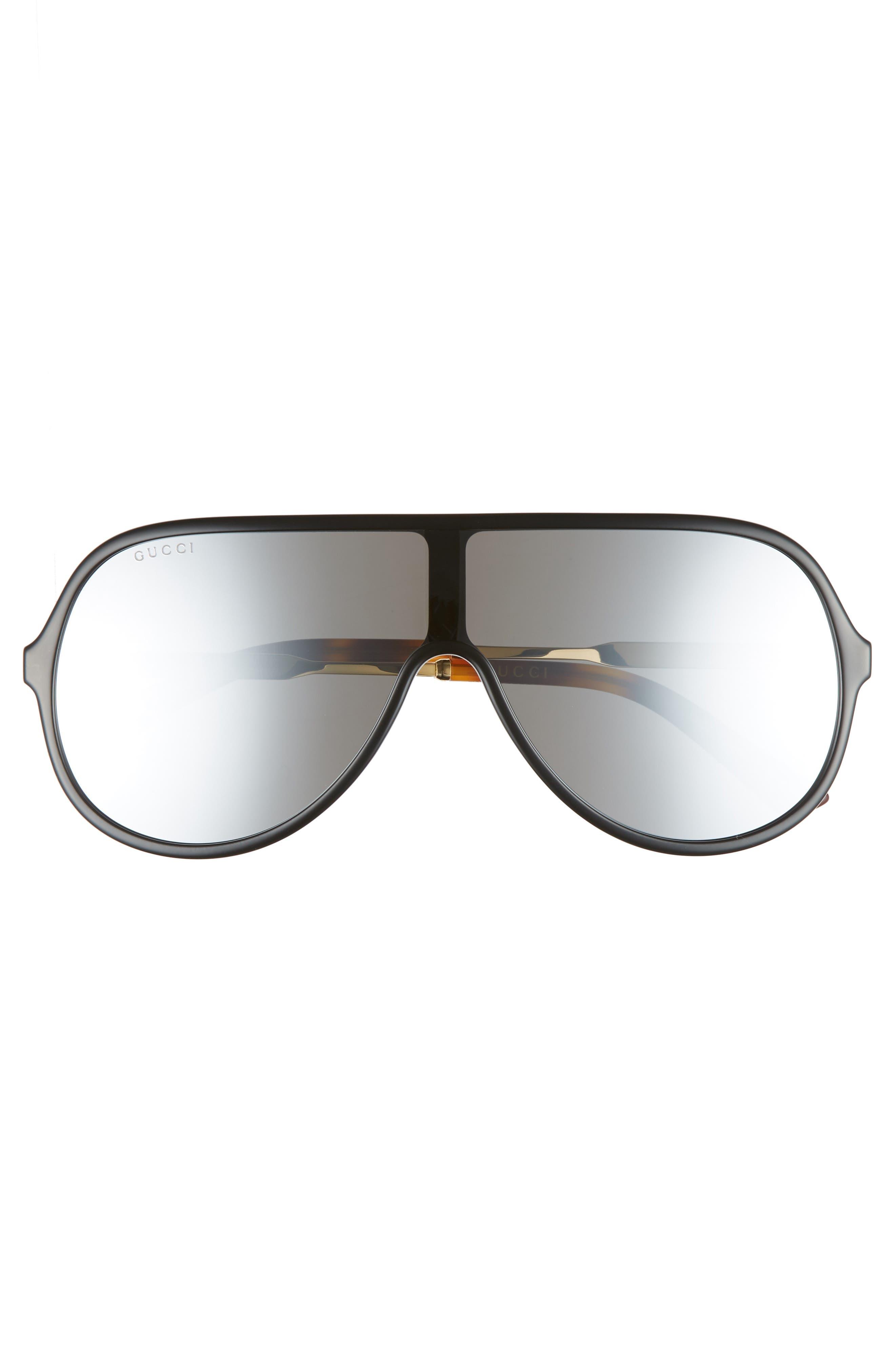 99mm Oversize Shield Sunglasses,                             Alternate thumbnail 2, color,                             Black
