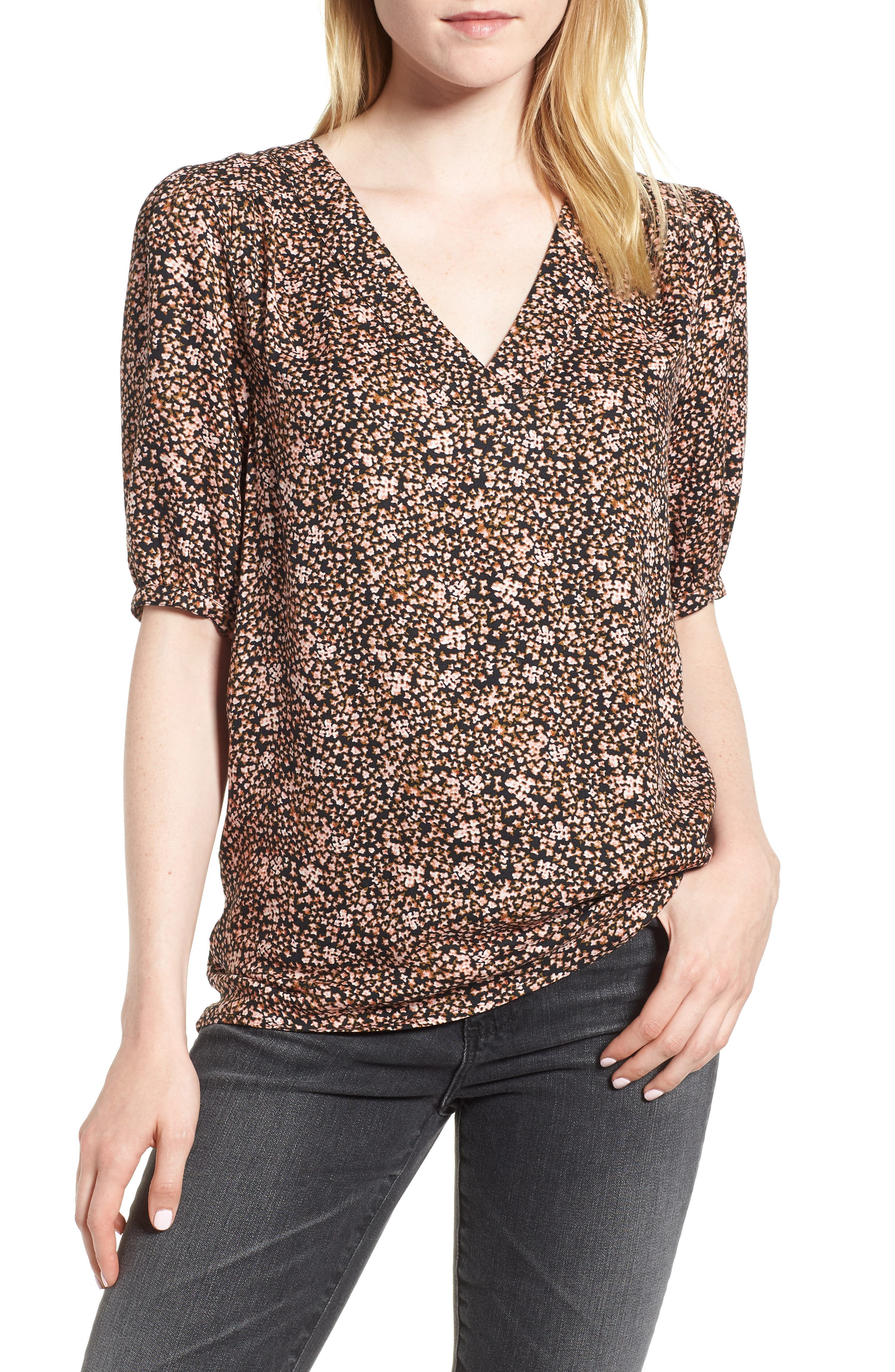 Print Pullover Blouse,                             Main thumbnail 1, color,                             Black Meteorite Cluster Ditsy