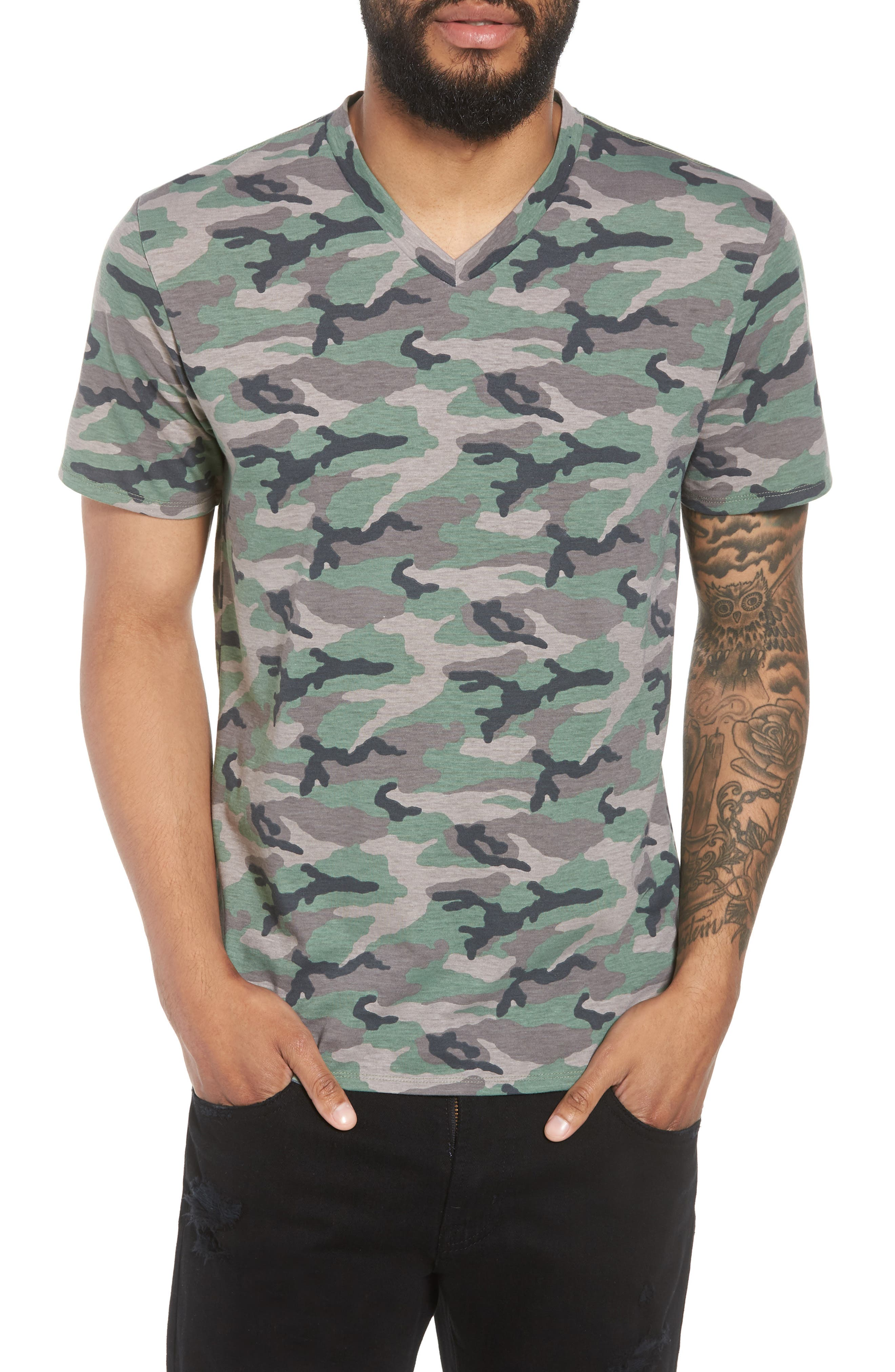 V-Neck T-Shirt,                         Main,                         color, Brown Green Camo