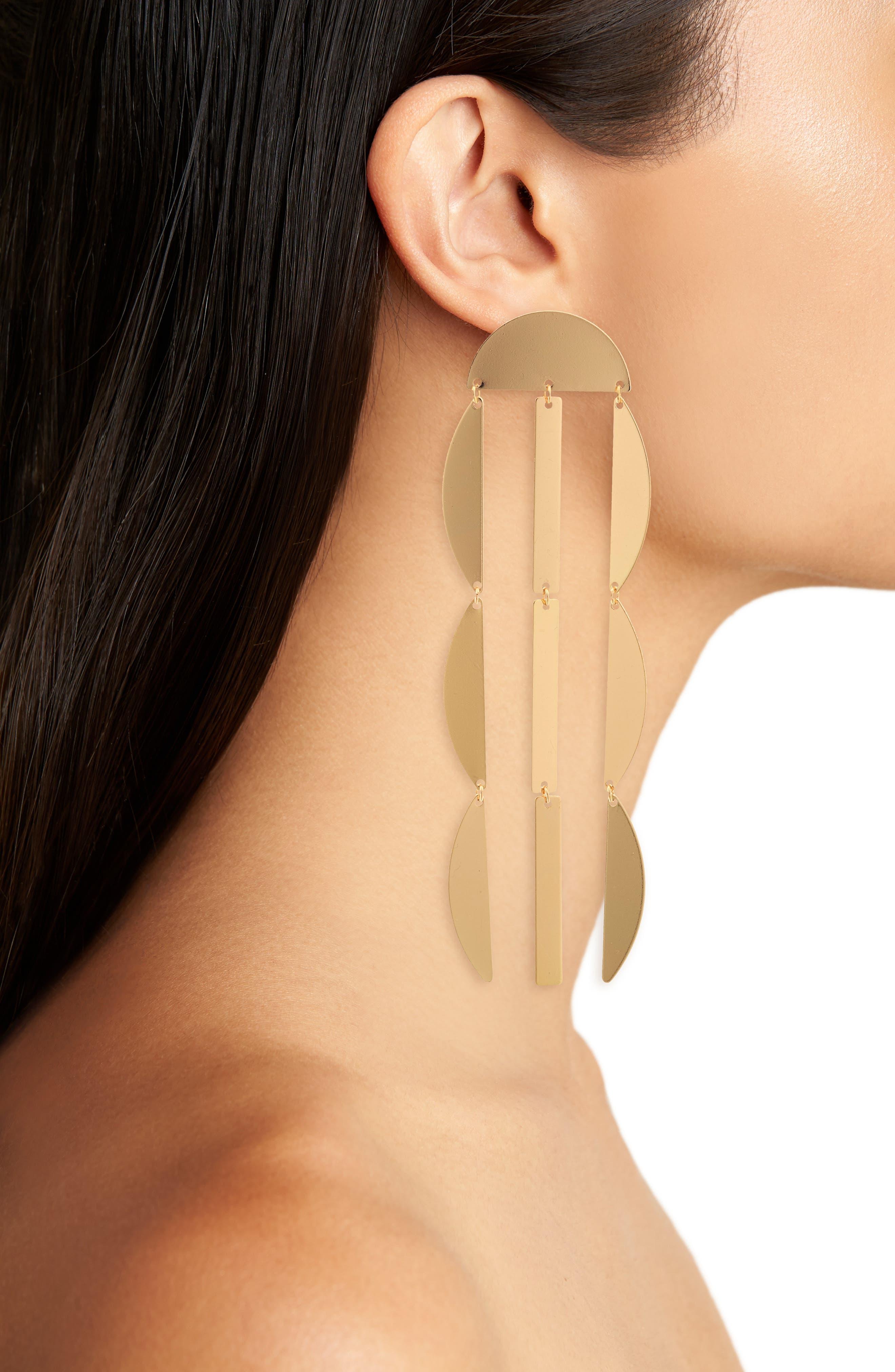 Linear Crescent Earrings,                             Alternate thumbnail 2, color,                             Gold