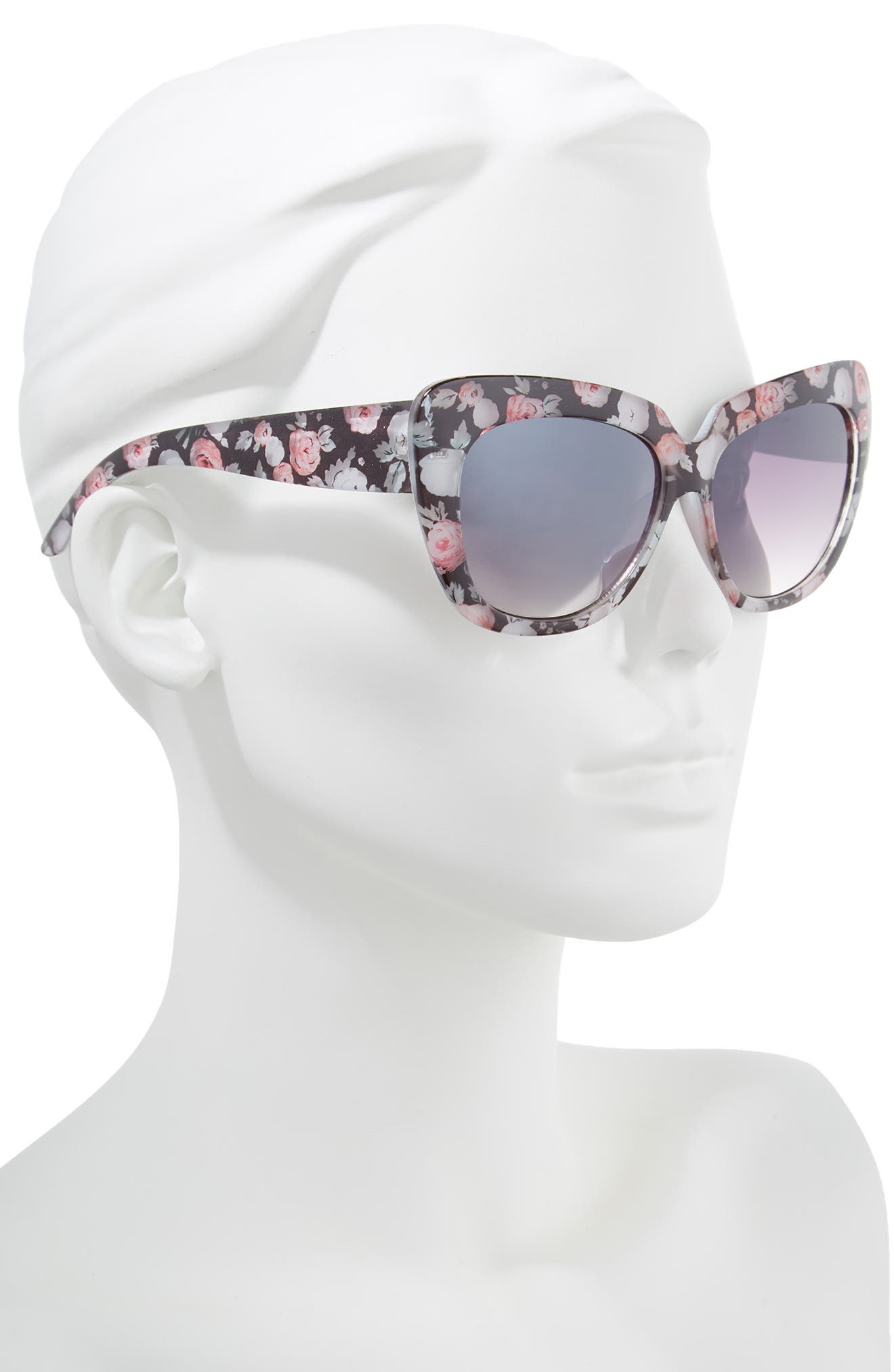 57mm Print Cat Eye Sunglasses,                             Alternate thumbnail 2, color,                             Black/ Multi
