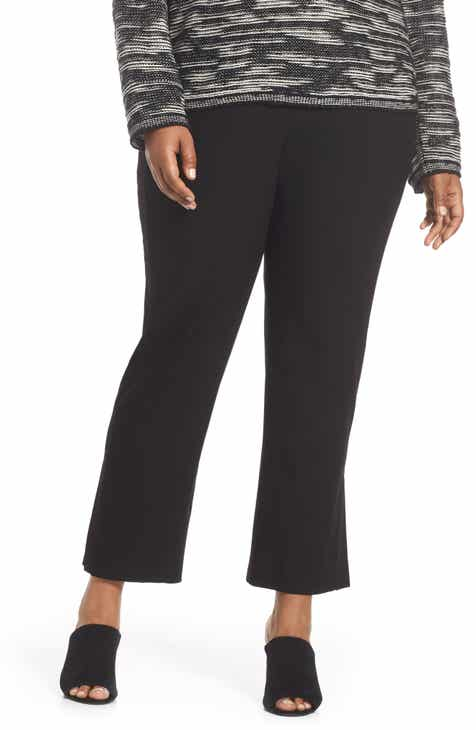 Eileen Fisher Leather Trim Ponte Flare Pants (Plus Size)