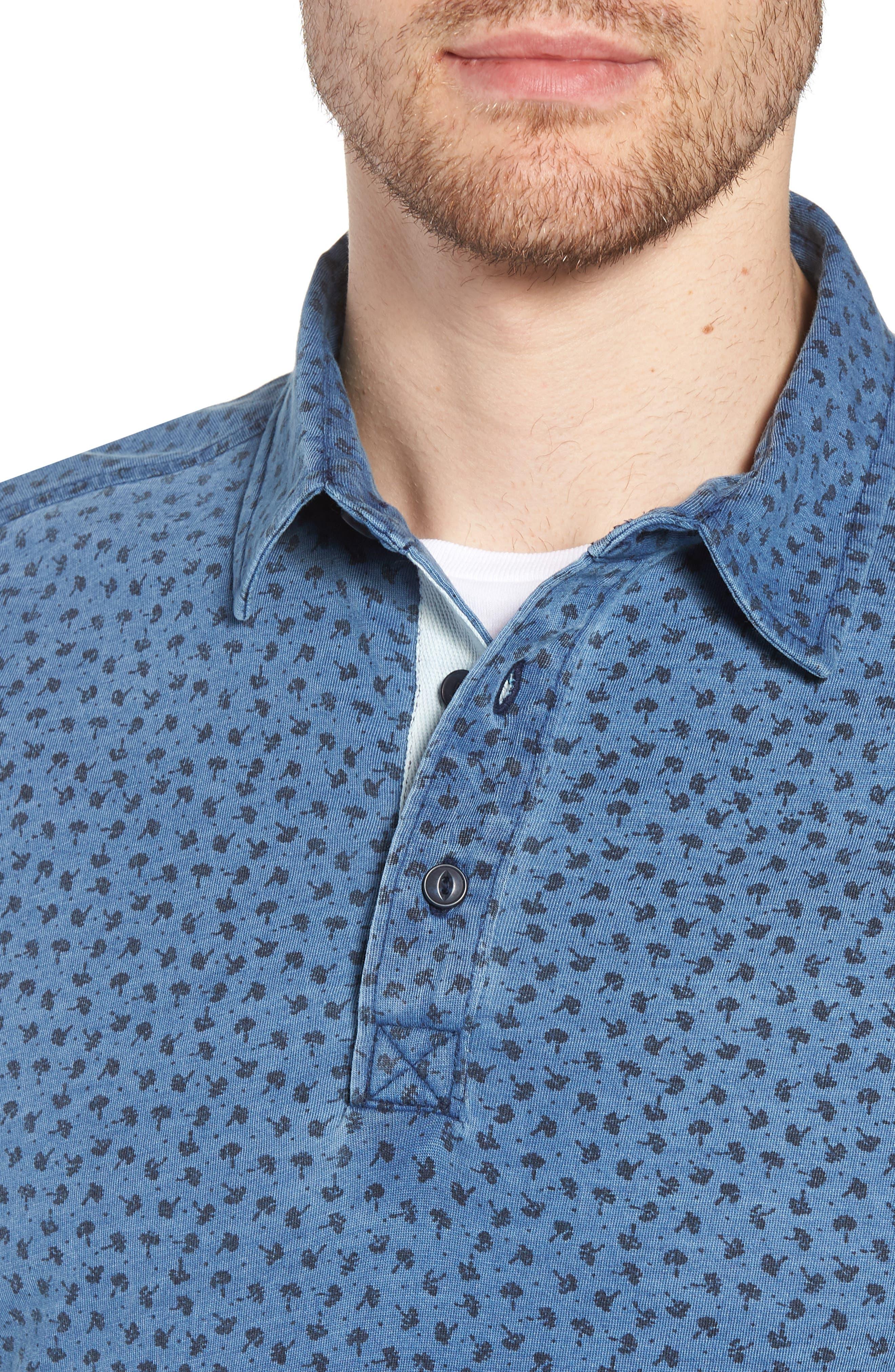 Washed Print Cotton Polo,                             Alternate thumbnail 4, color,                             Blue Indigo Print