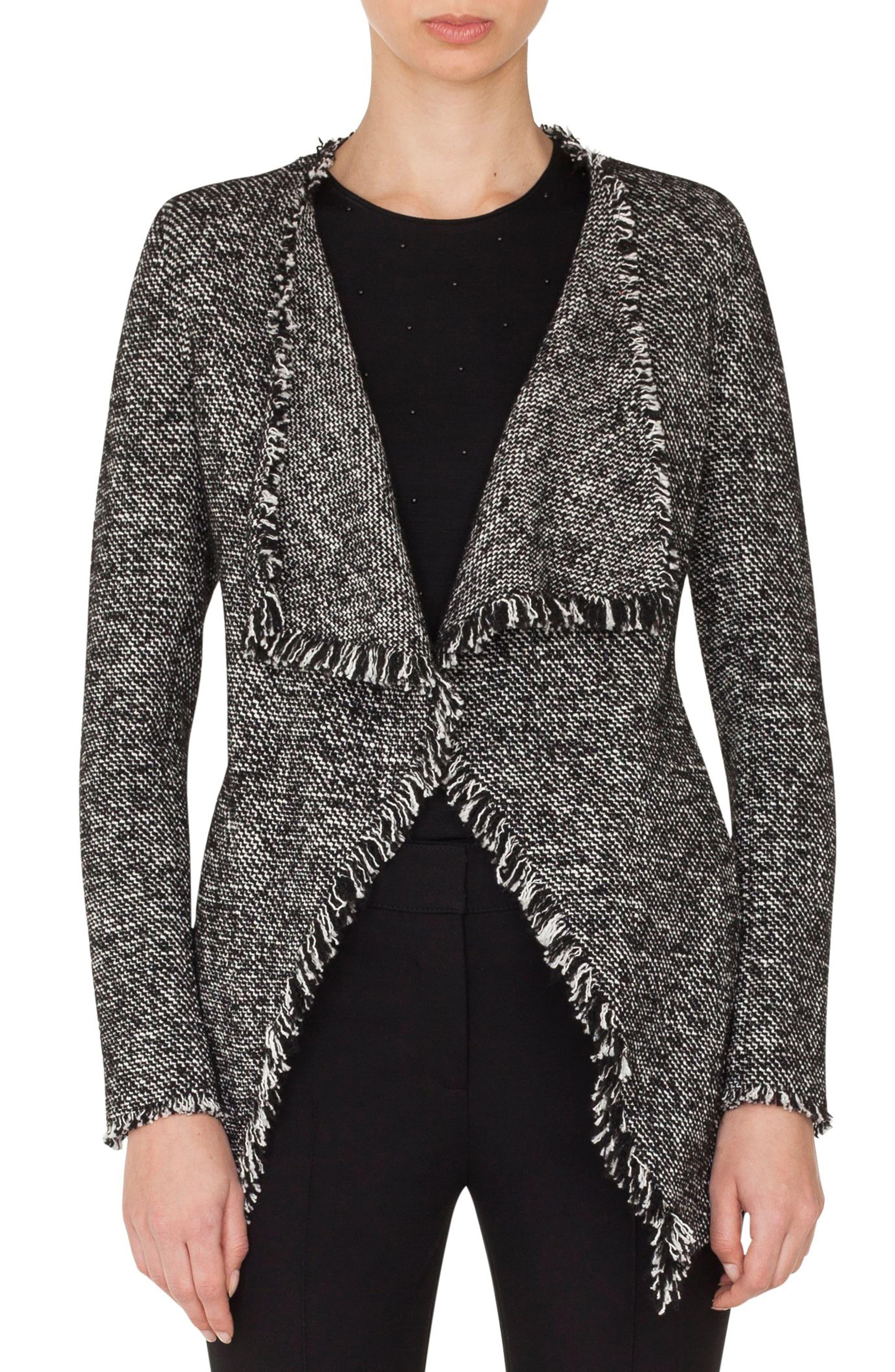 Akris punto Drape Front Tweed Jacket