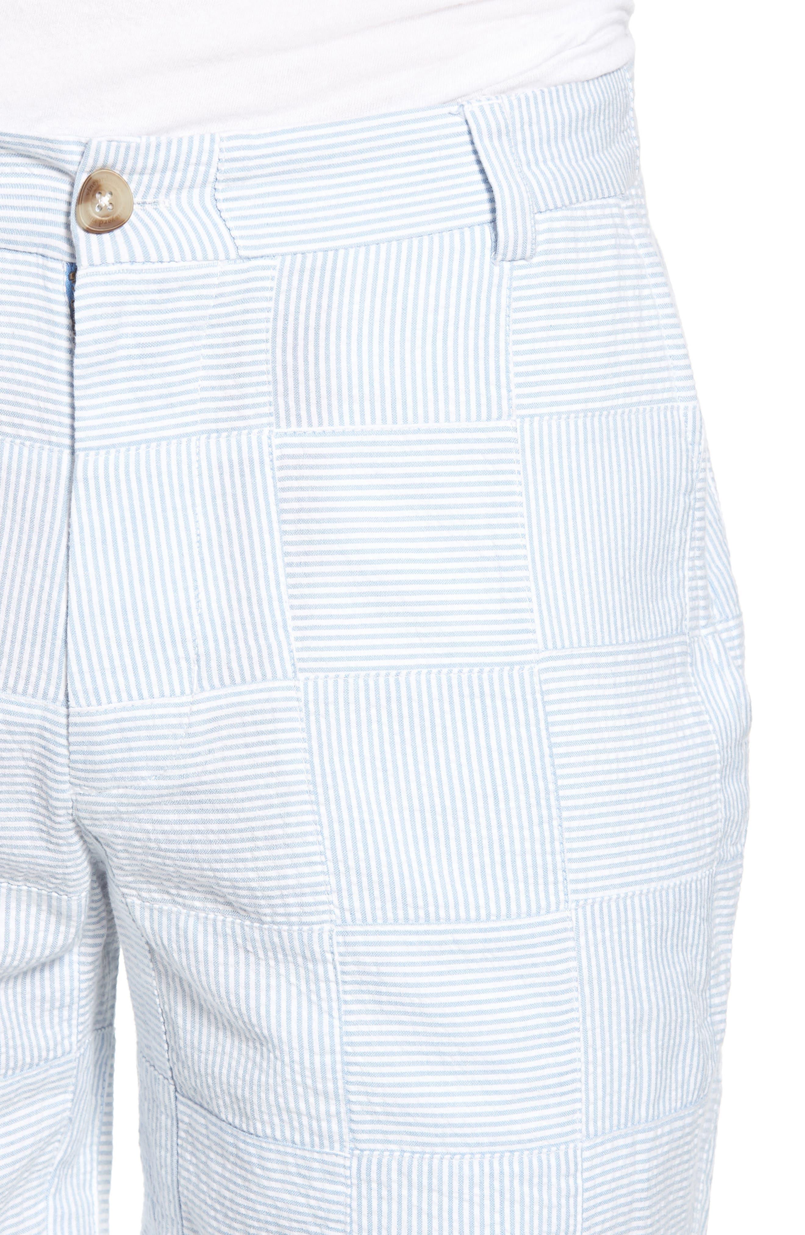 Patchwork Seersucker Breaker Shorts,                             Alternate thumbnail 4, color,                             Ocean Breeze