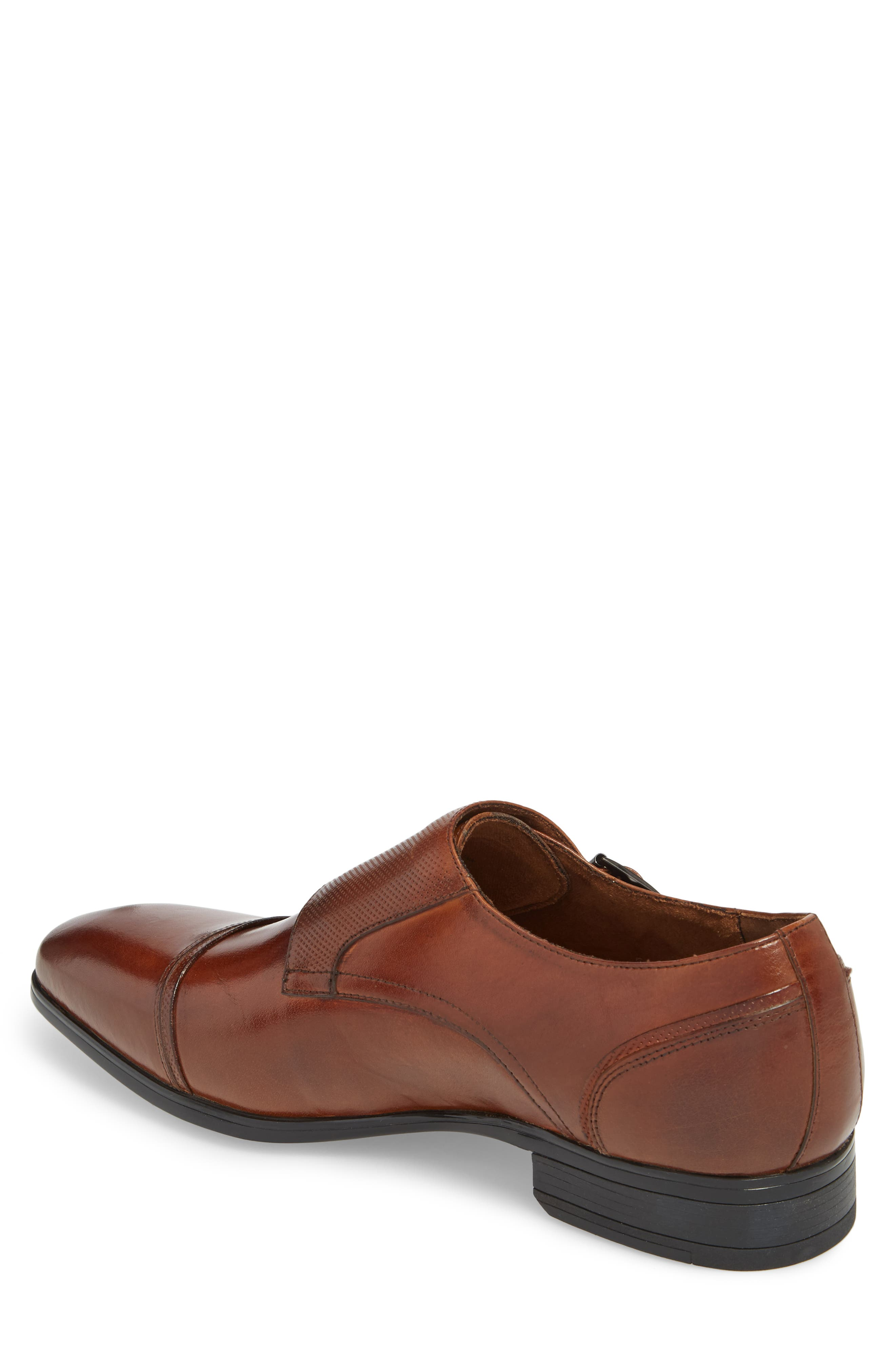 Oliver Cap Toe Monk Shoe,                             Alternate thumbnail 2, color,                             Cognac Leather