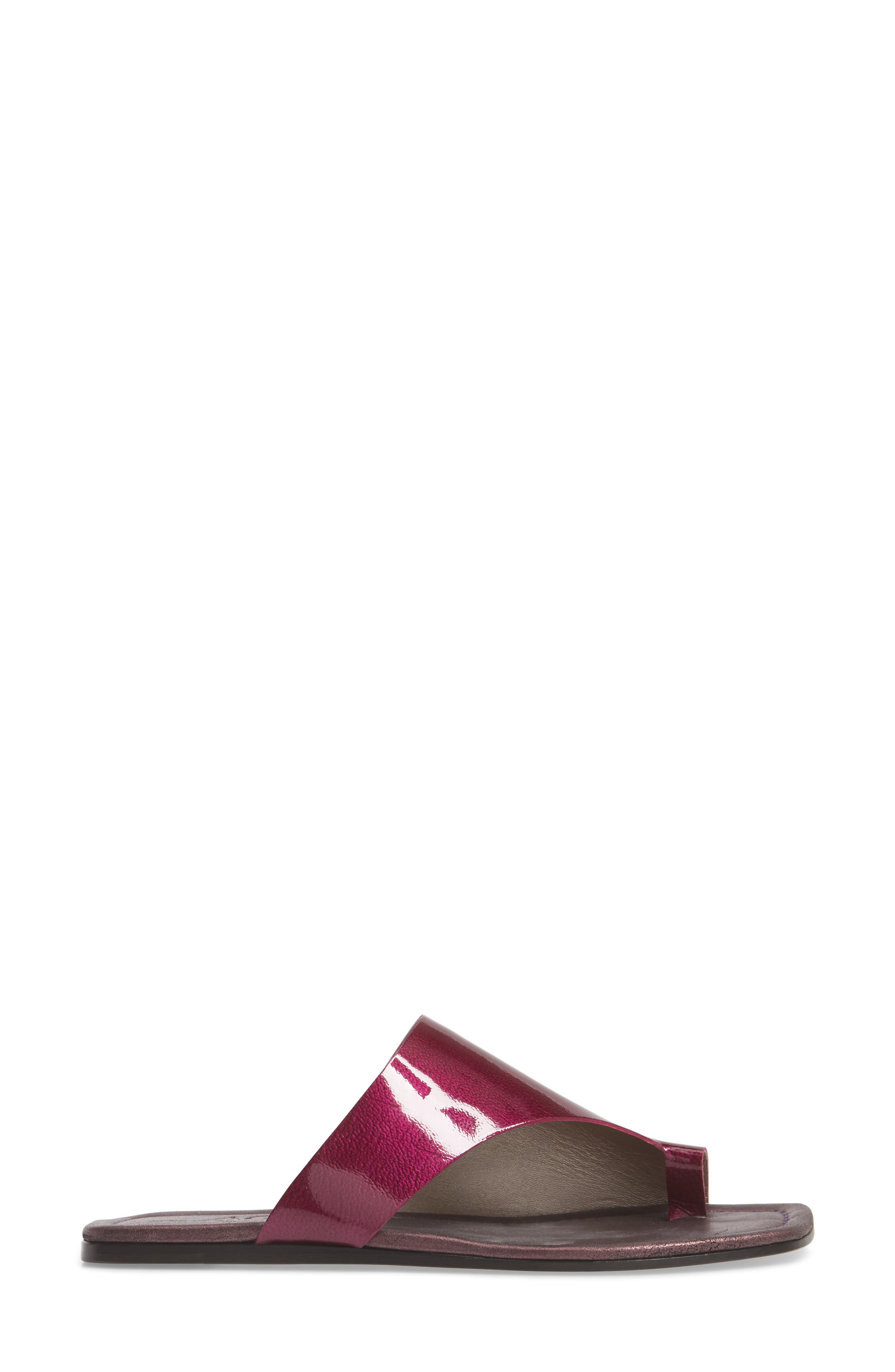Asymmetrical Toe Thong Sandal,                             Alternate thumbnail 3, color,                             Fuchsia Patent