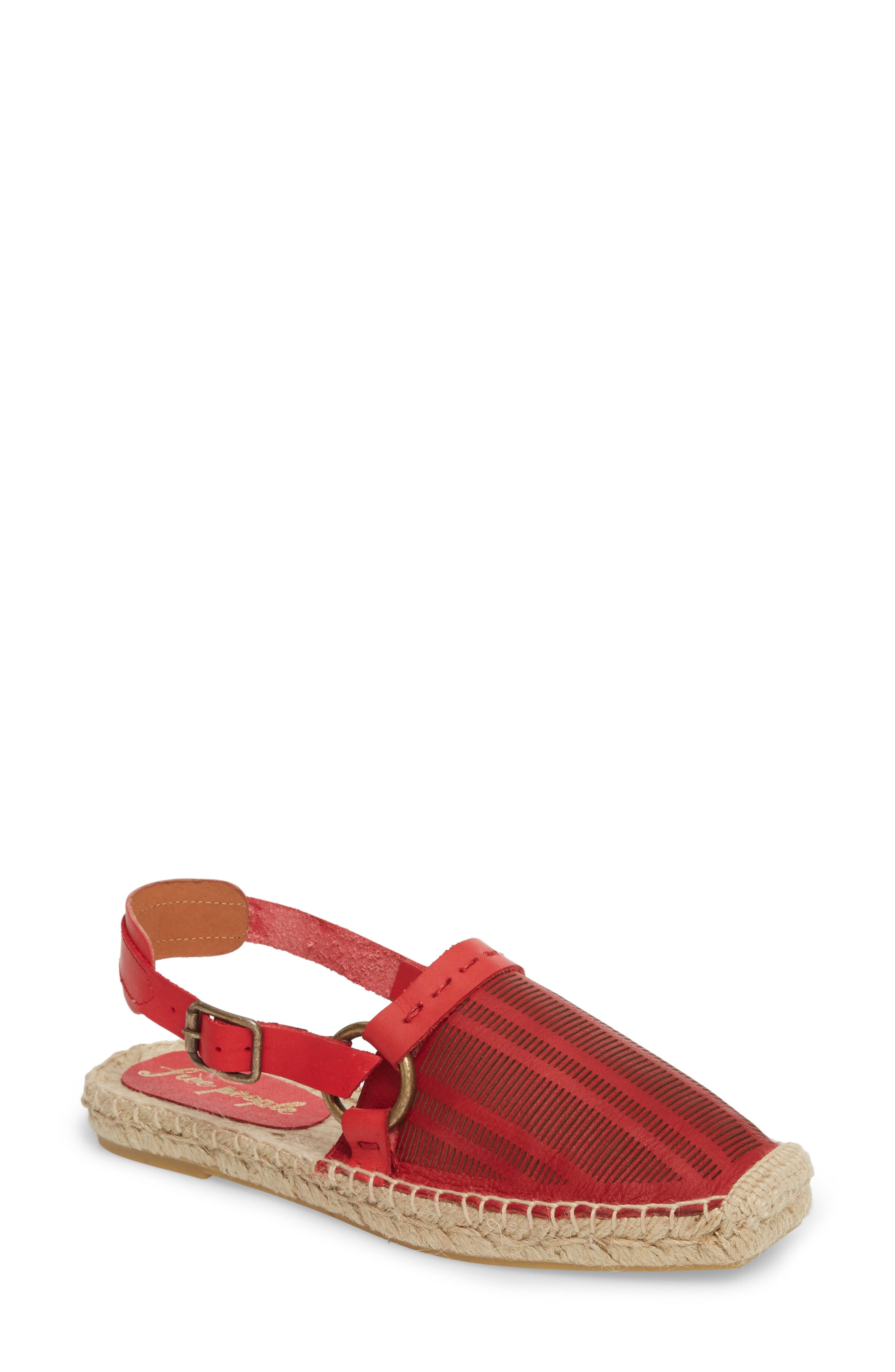 Cabo Espadrille Flat,                         Main,                         color, Red