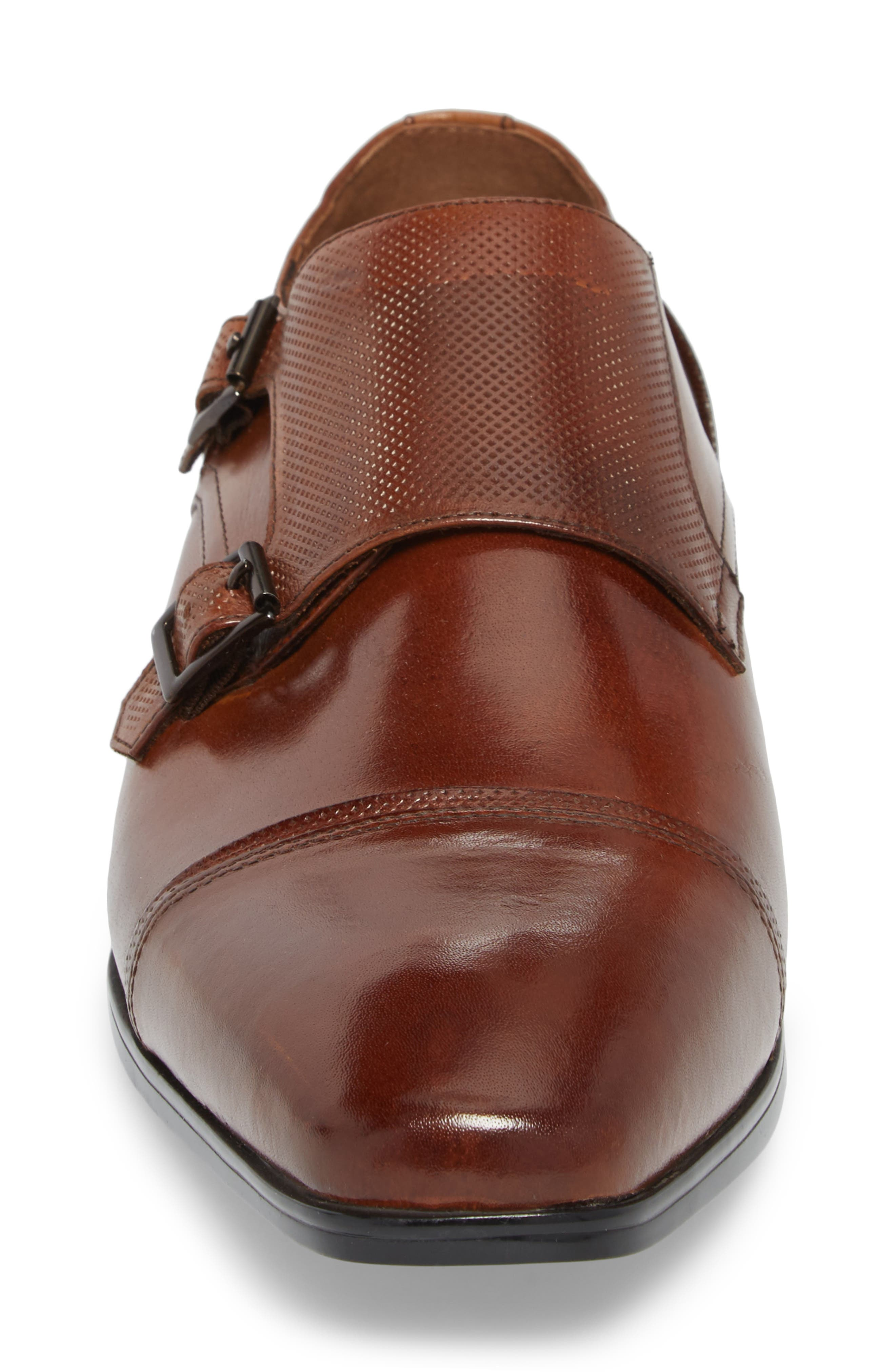 Oliver Cap Toe Monk Shoe,                             Alternate thumbnail 4, color,                             Cognac Leather