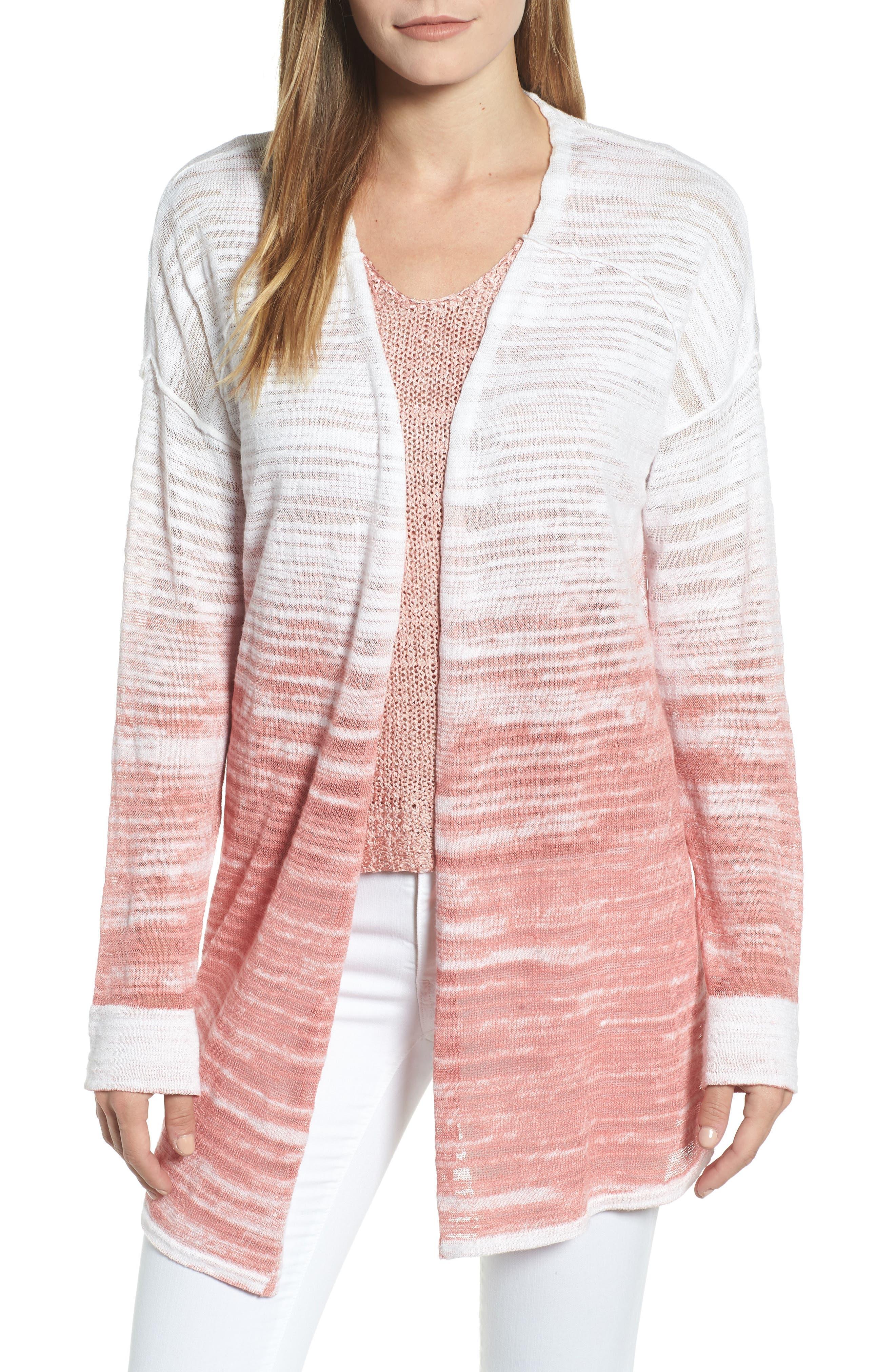 Open Breeze Linen Cotton Ombré Cardigan,                             Main thumbnail 1, color,                             Pink Clay