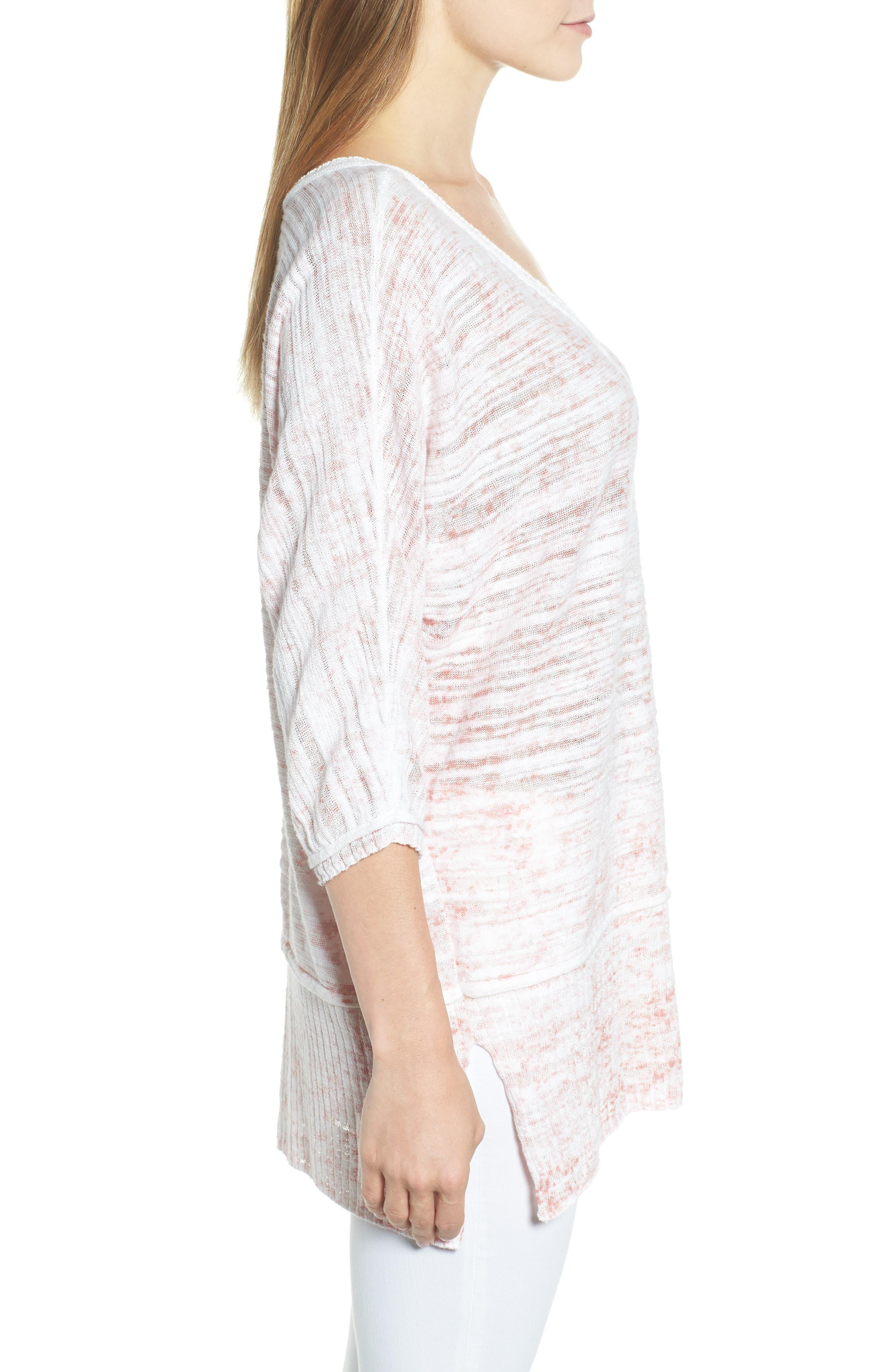 Open Breeze Linen Cotton Blend Sweater,                             Alternate thumbnail 3, color,                             Pink Clay