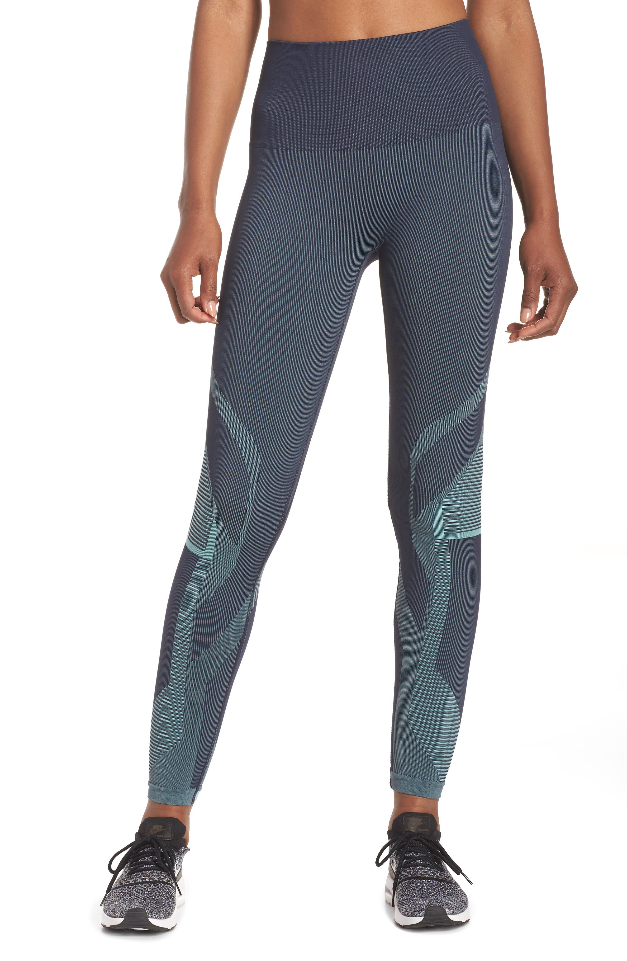 Spectrum High Waist Seamless Leggings,                             Main thumbnail 1, color,                             Deep Sea Navy